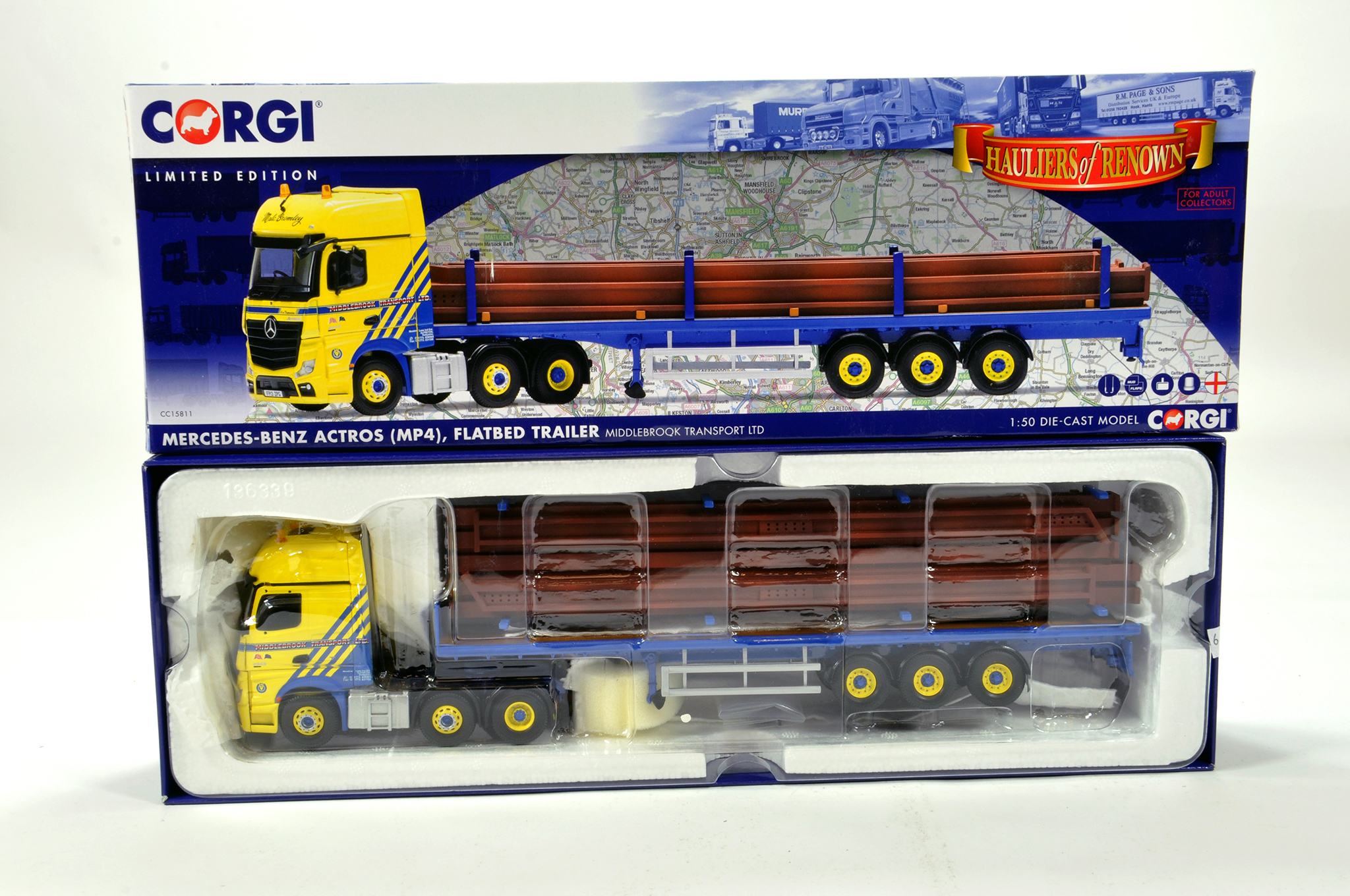 Lot 34 - Corgi 1/50 diecast truck issue comprising No. CC15811 Mercedes Benz Actros Flatbed Trailer in livery