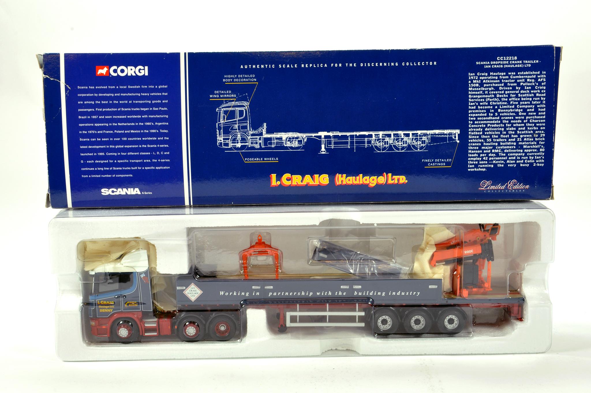 Lot 19 - Corgi 1/50 diecast truck issue comprising No. CC12218 Scania Dropside Crane Trailer in livery of Ian