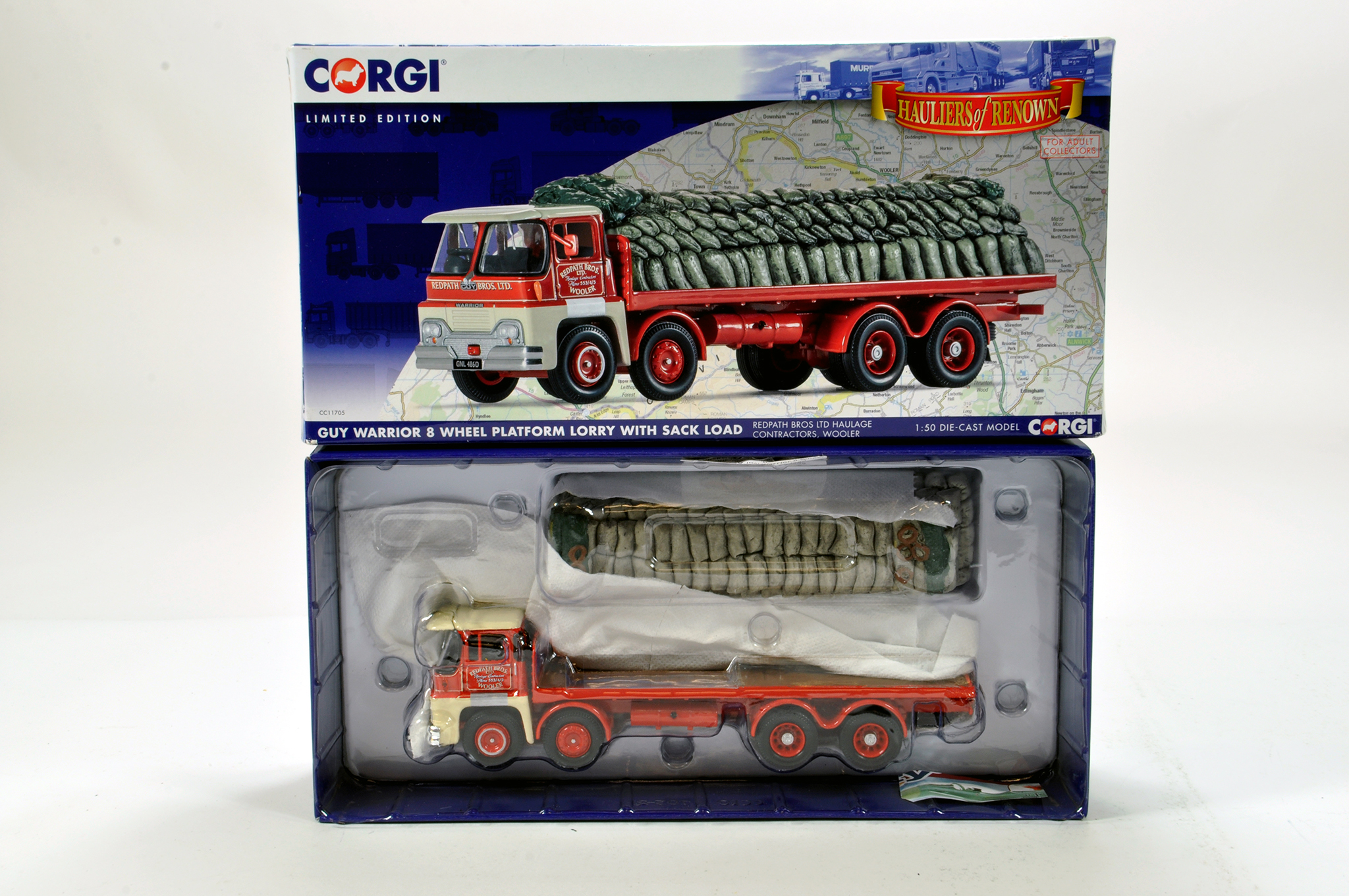 Lot 58 - Corgi 1/50 diecast truck issue comprising No. CC11705 Guy Warrior 9 Wheel Lorry in livery of Redpath