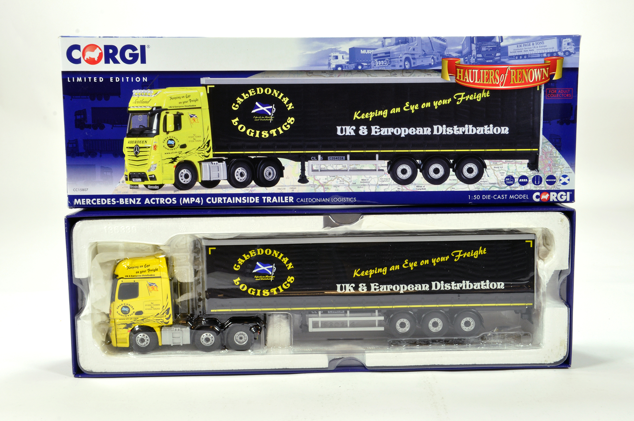 Lot 11 - Corgi 1/50 diecast truck issue comprising No. CC15807 Mercedes Benz Actros Curtainside in livery