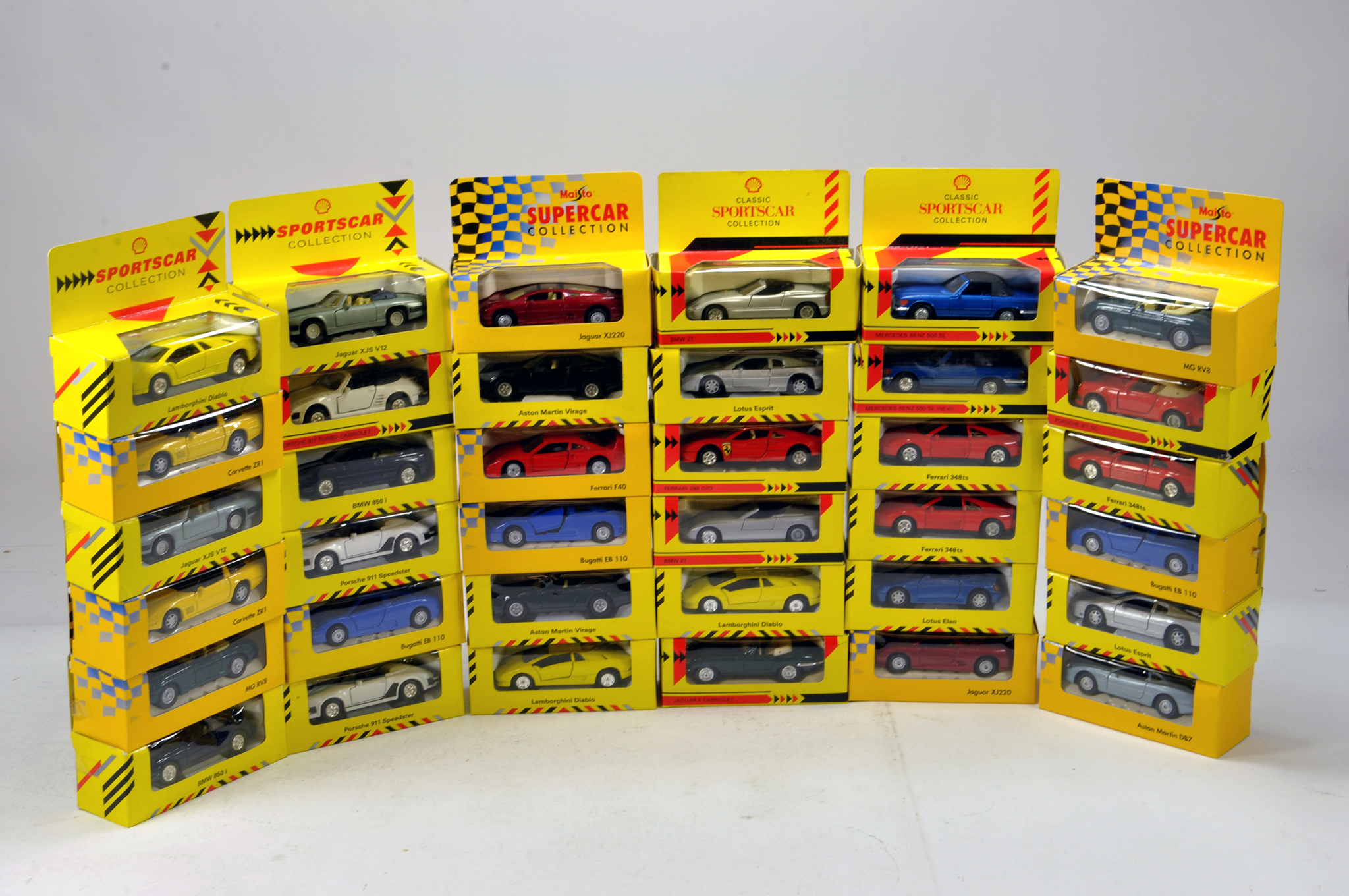 Lot 1747 - Large assortment of Shell Classic Sportscar Diecast issues. E to NM in Boxes.