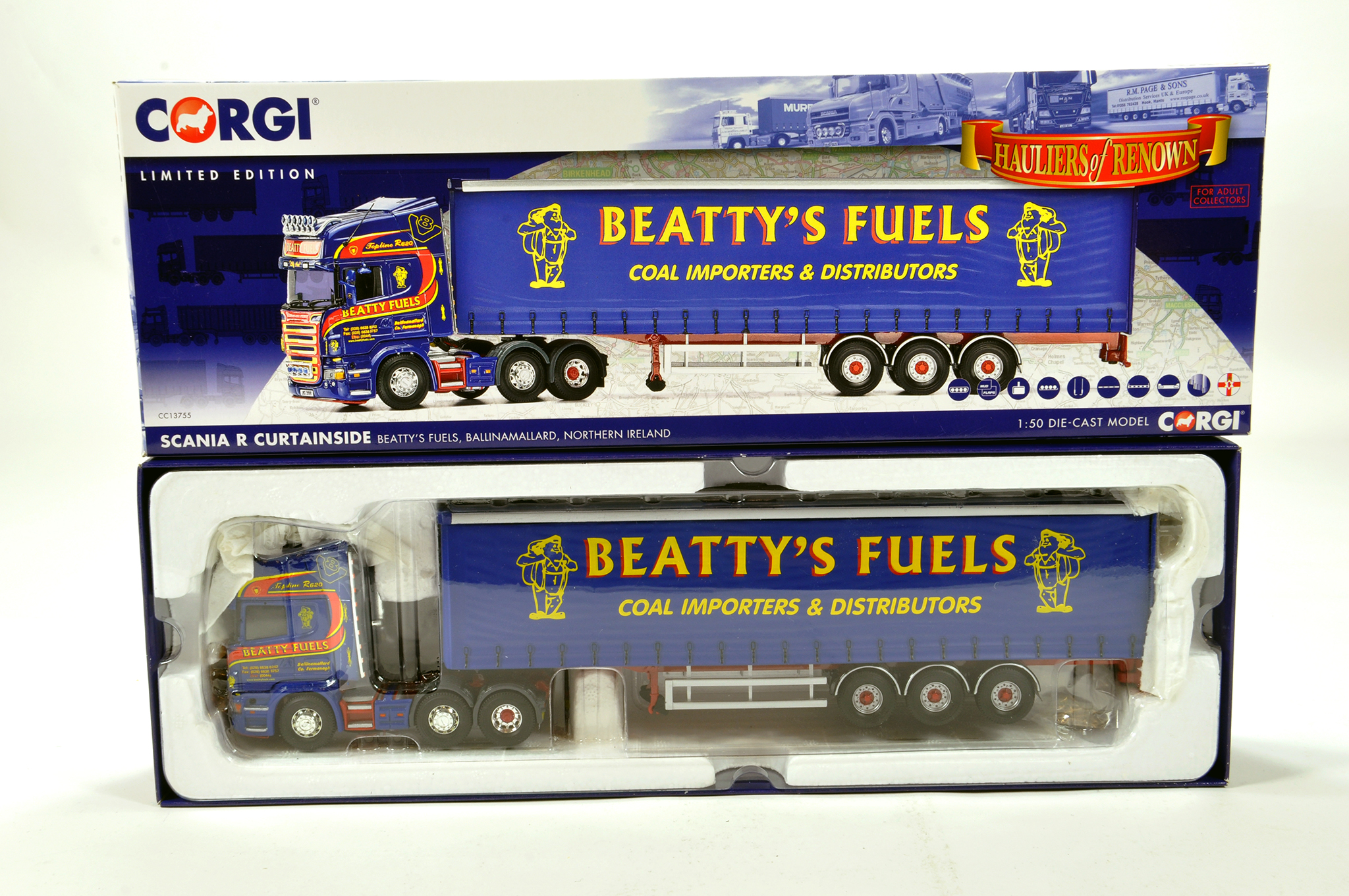 Lot 42 - Corgi 1/50 diecast truck issue comprising No. CC13755 Scania R Curtainside in livery of Beatty's