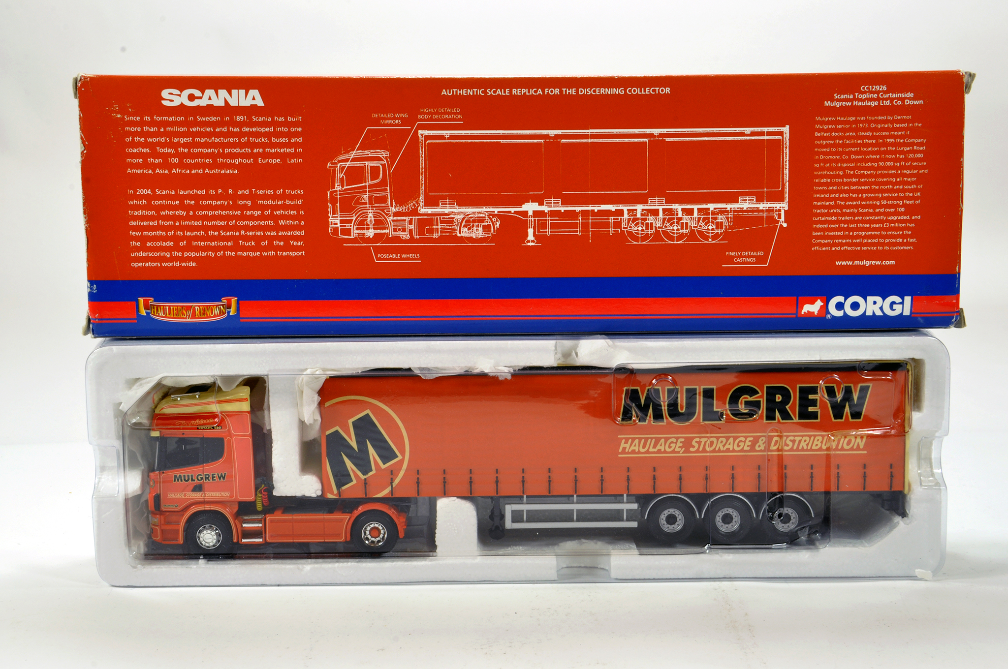 Lot 56 - Corgi 1/50 diecast truck issue comprising No. CC12926 Scania Topline Curtainside in livery of