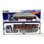 Corgi 1/50 diecast truck issue comprising No. CC13829 Mercedes Benz Actros Flat bed Trailer in