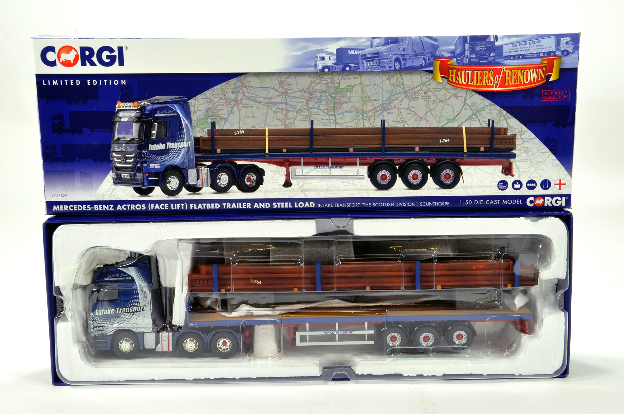 Lot 17 - Corgi 1/50 diecast truck issue comprising No. CC13829 Mercedes Benz Actros Flat bed Trailer in