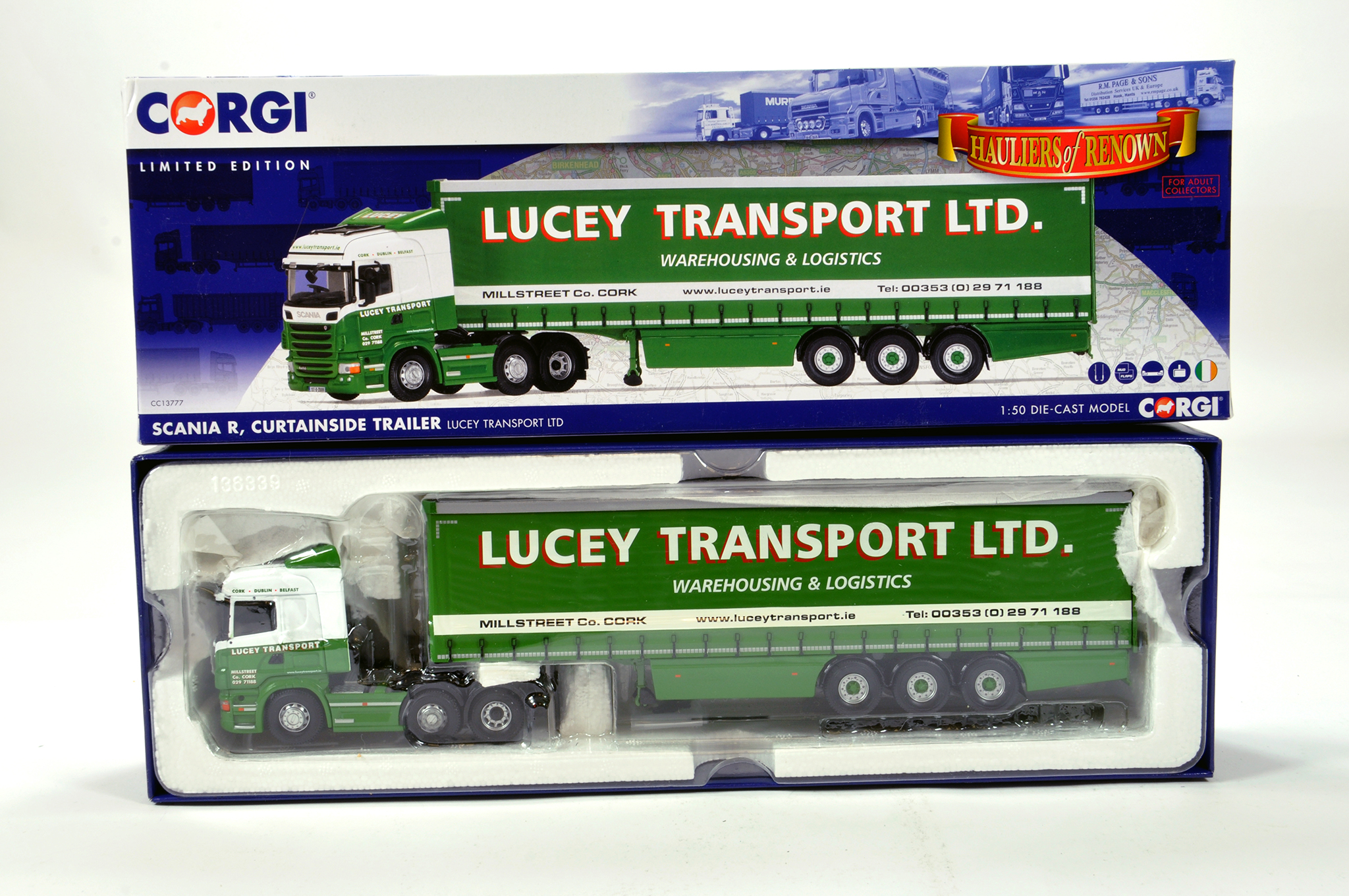 Lot 35 - Corgi 1/50 diecast truck issue comprising No. CC13777 Scania R Curtainside Trailer in livery of