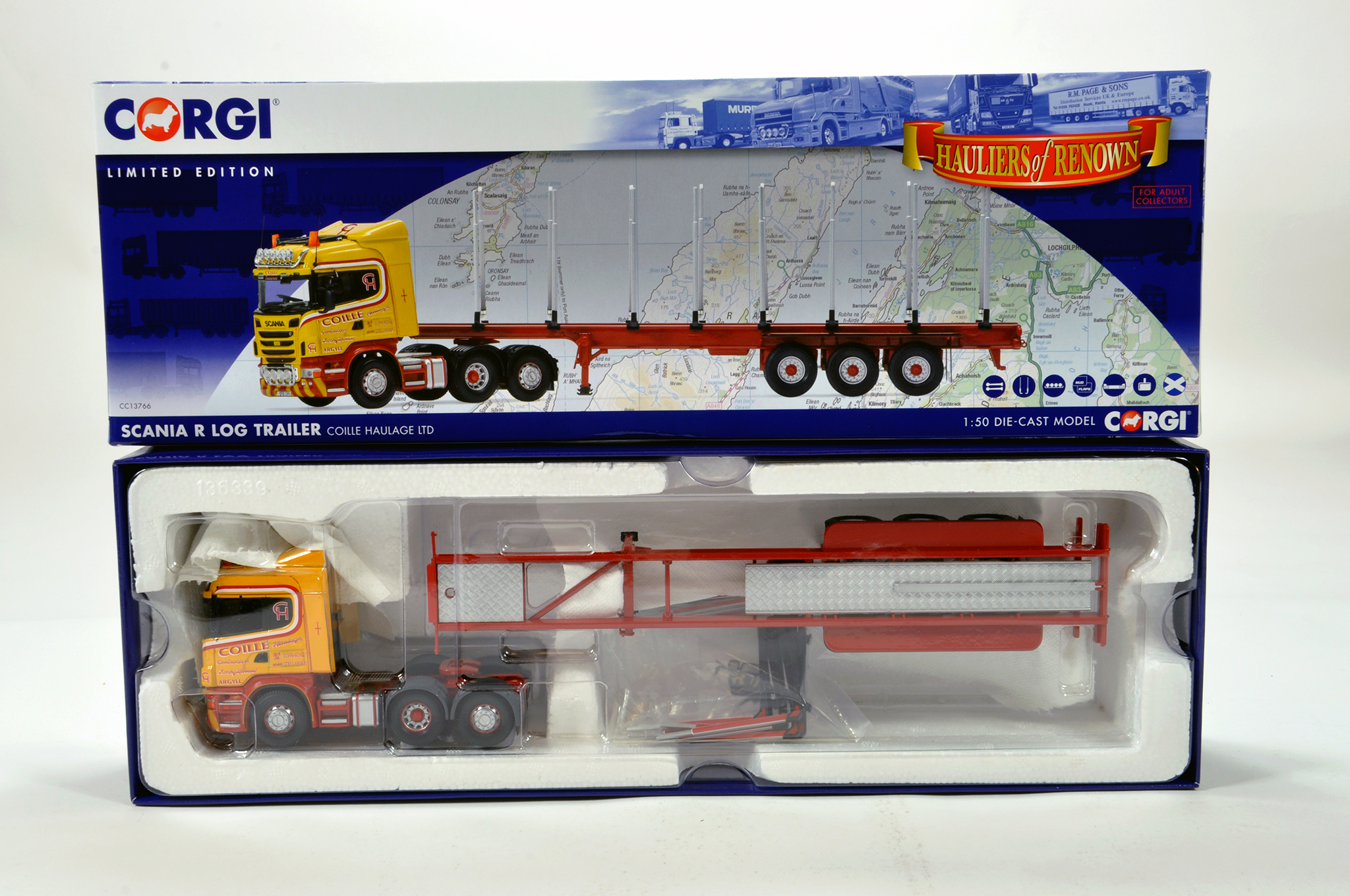 Lot 7 - Corgi 1/50 diecast truck issue comprising No. CC13766 Scania R Log Trailer in livery of Coille