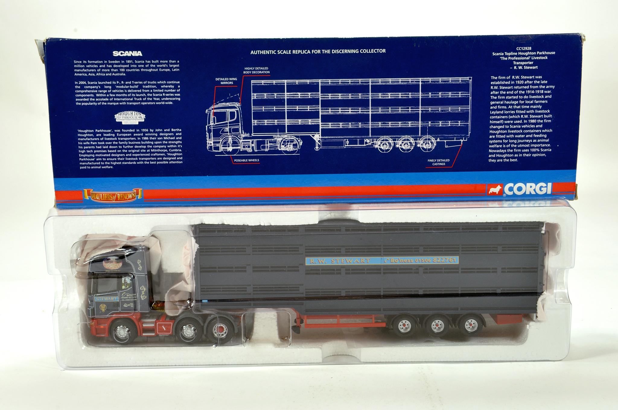 Lot 24 - Corgi 1/50 diecast truck issue comprising No. CC12928 Scania Topline Livestock Transporter in livery