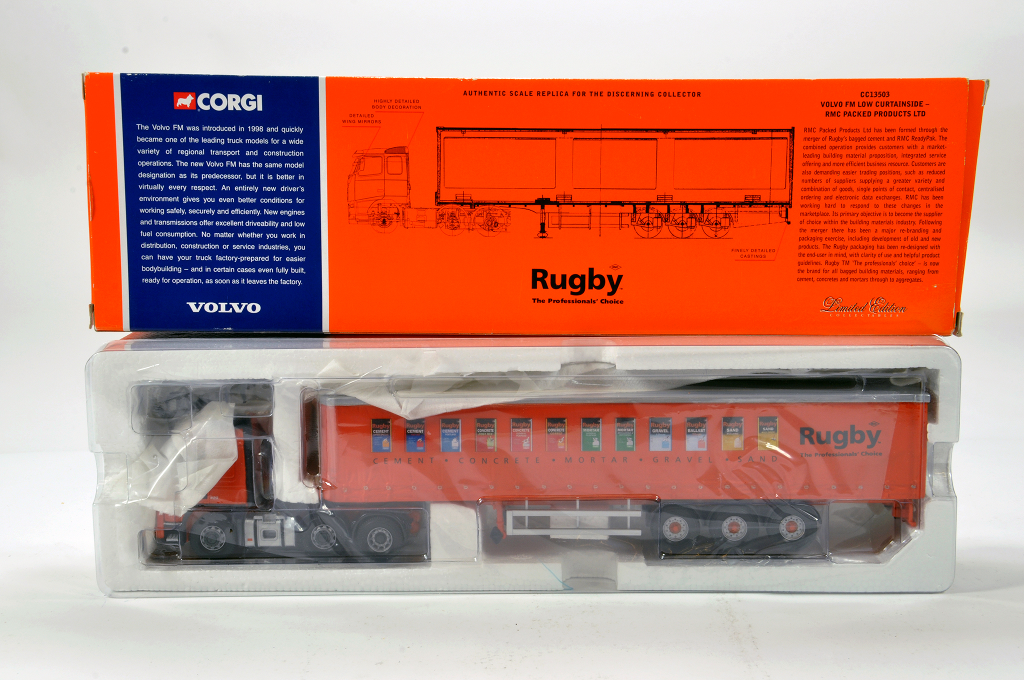 Lot 54 - Corgi 1/50 diecast truck issue comprising No. CC13503 Volvo FM Curtainside in livery of RMC
