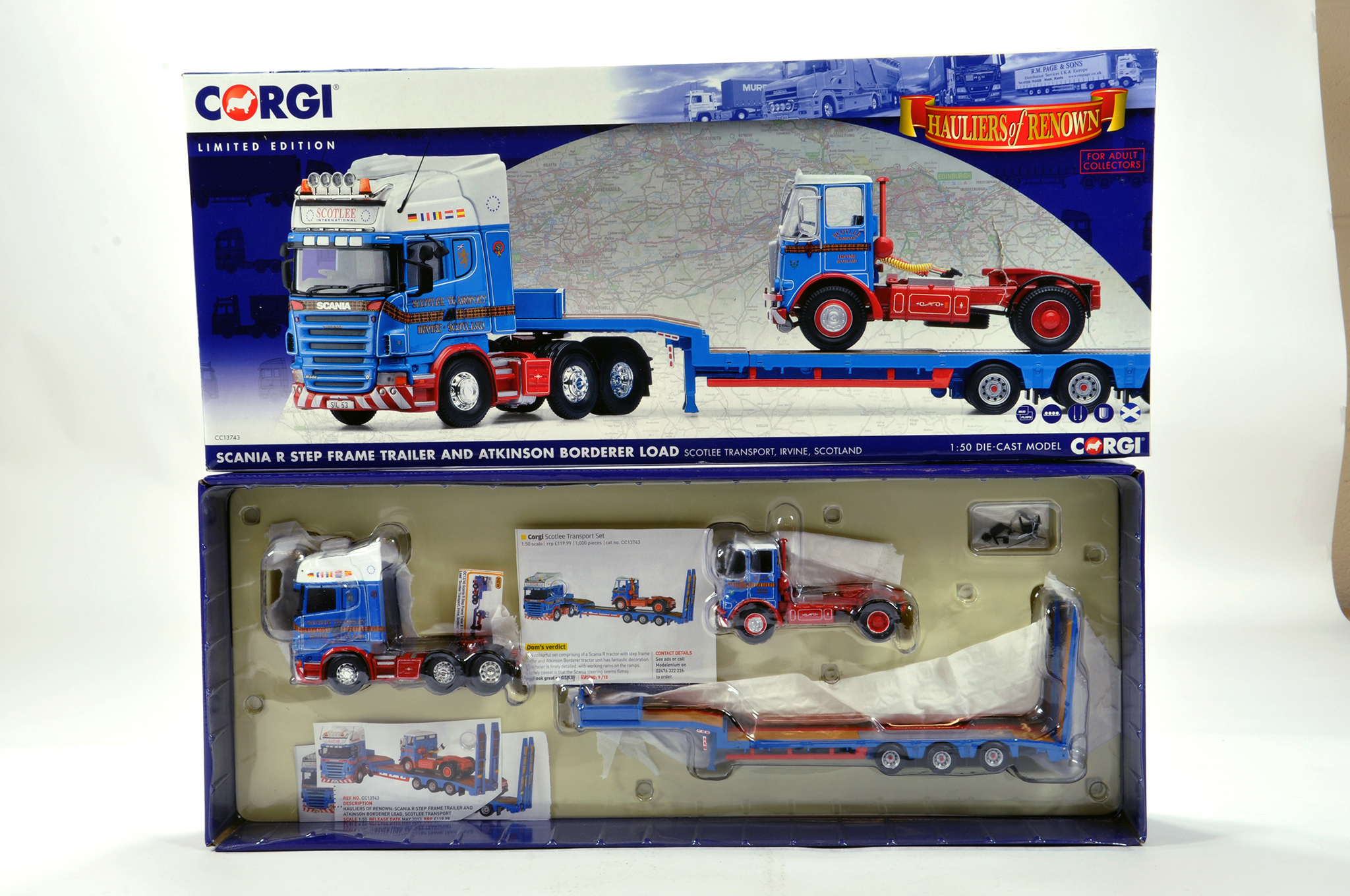Lot 50 - Corgi 1/50 diecast truck issue comprising No. CC13743 Scania R Stepframe Trailer and Atkinson