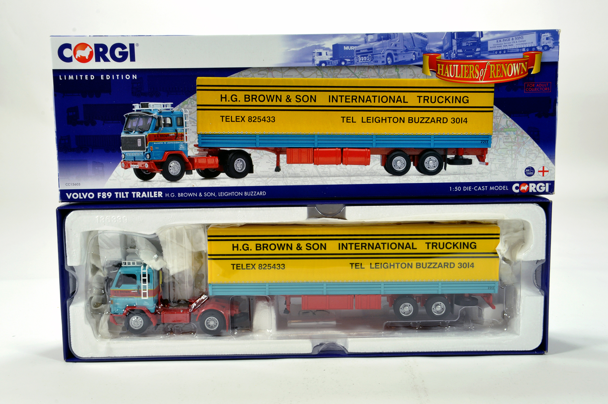 Lot 30 - Corgi 1/50 diecast truck issue comprising No. CC15603 Volvo F89 Tilt Trailer in livery of HG Brown