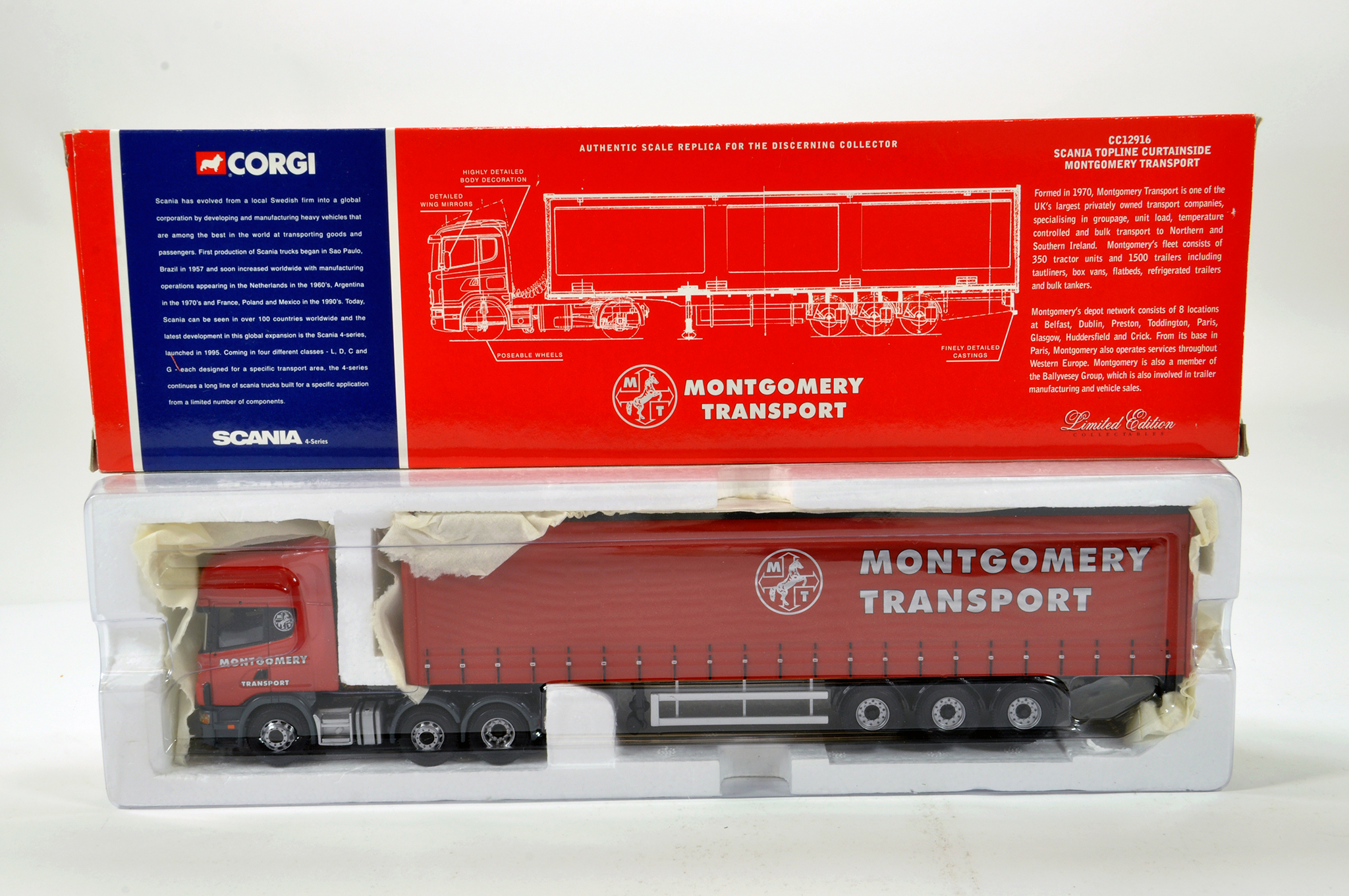 Lot 1 - Corgi 1/50 diecast truck issue comprising No. CC12916 Scania Topline Curtainside in livery of