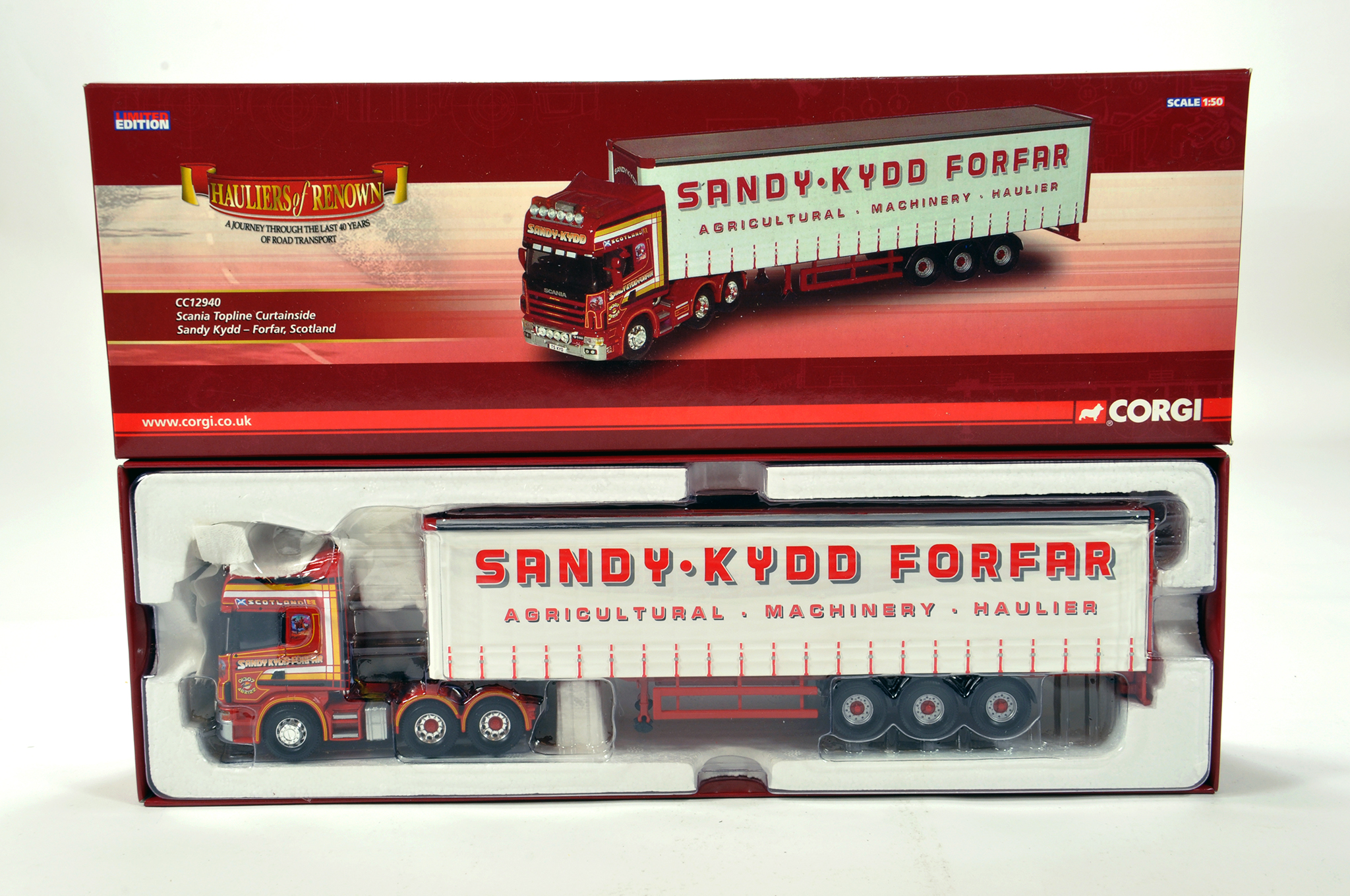 Lot 26 - Corgi 1/50 diecast truck issue comprising No. CC12940 Scania Topline Curtainside in livery of