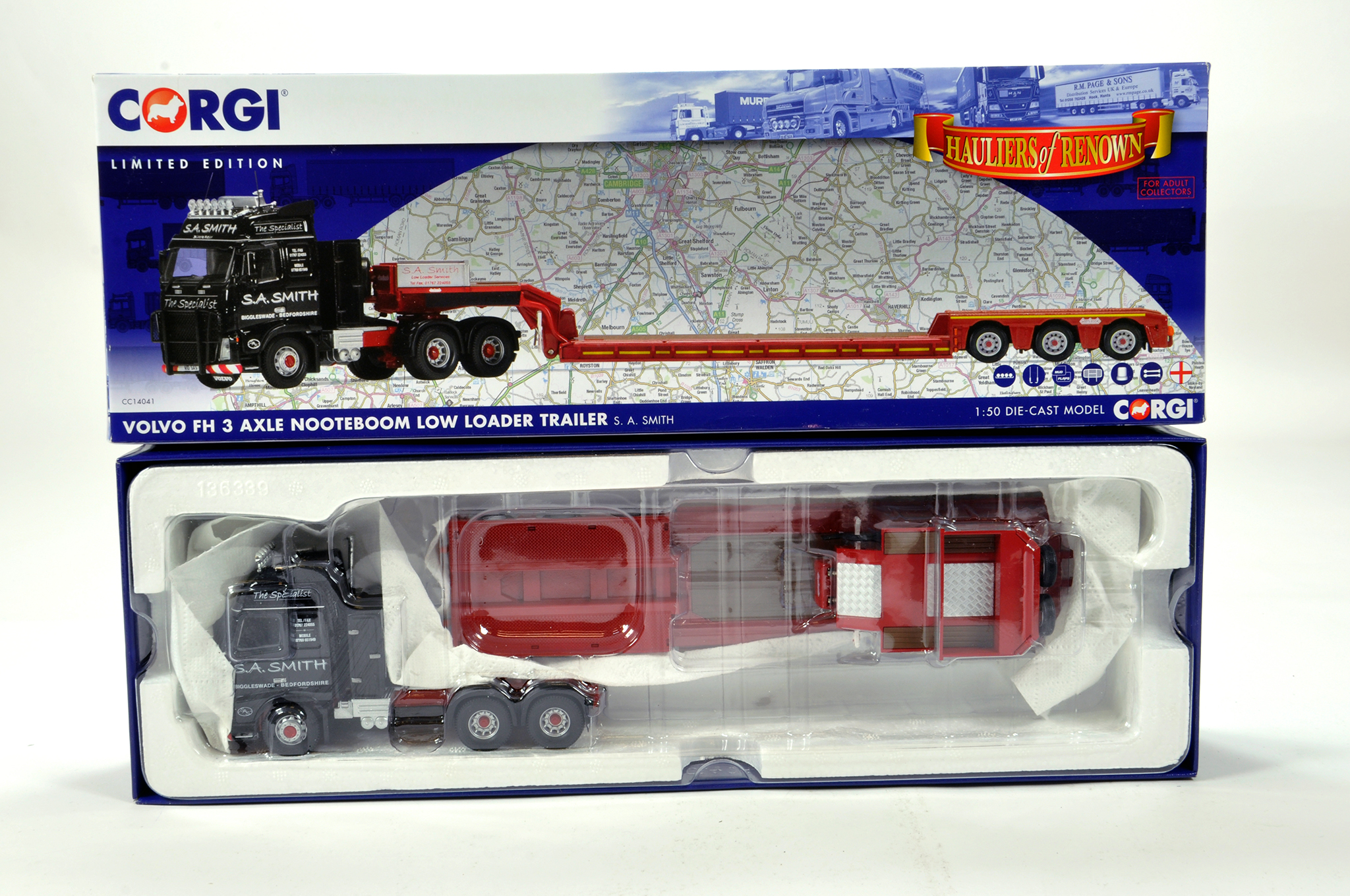 Lot 31 - Corgi 1/50 diecast truck issue comprising No. CC14041 Volvo FH Nooteboom Low Loader in livery of