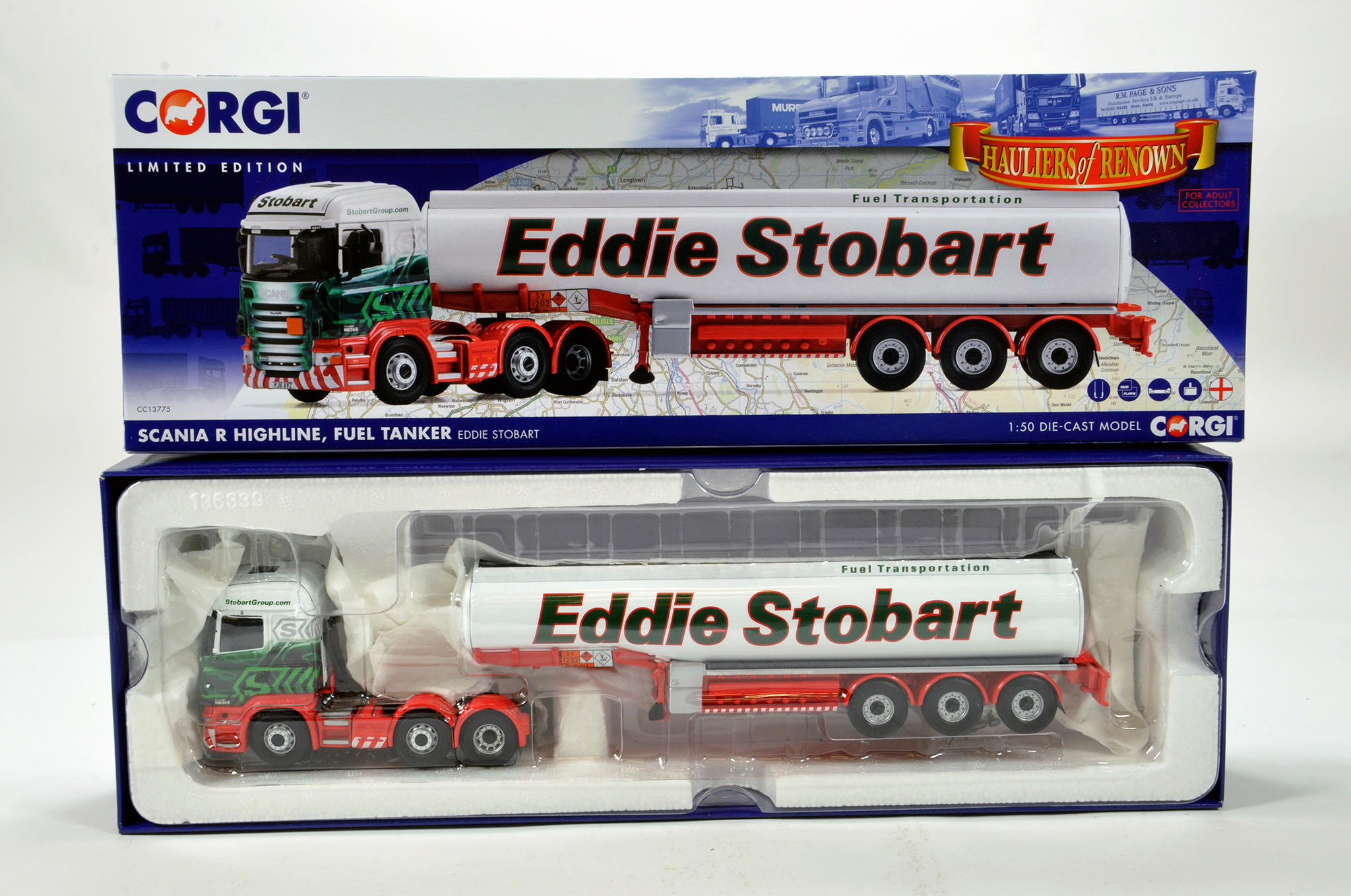 Lot 15 - Corgi 1/50 diecast truck issue comprising No. CC13775 Scania R Highline Fuel Tanker in livery of