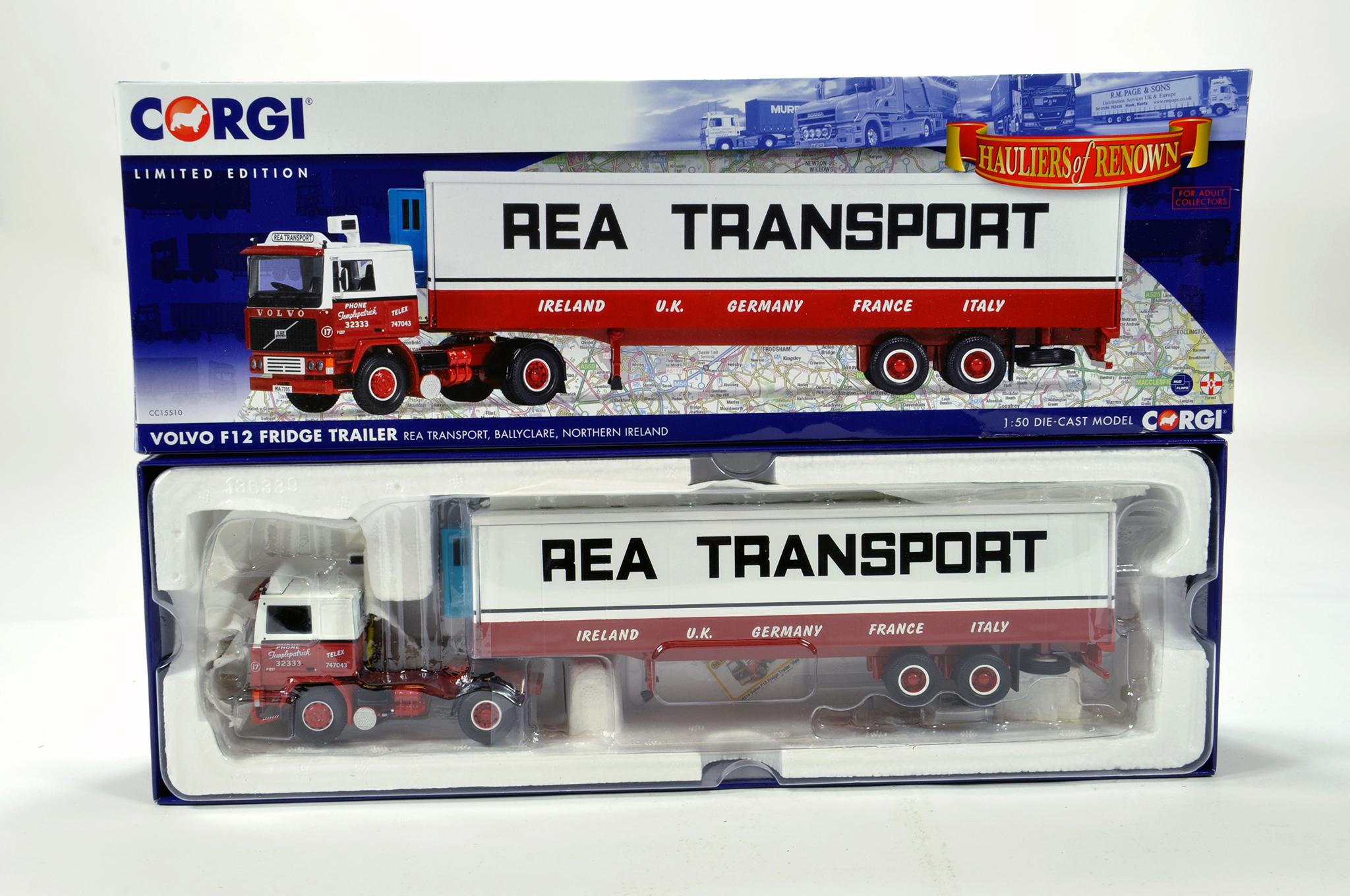 Lot 33 - Corgi 1/50 diecast truck issue comprising No. CC15510 Volvo F12 Fridge Trailer in livery of Rea