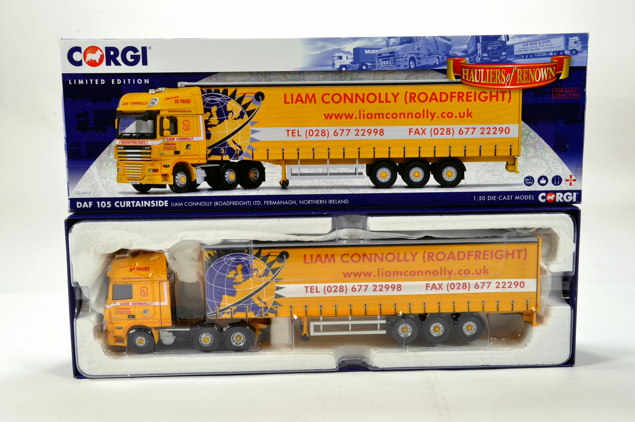 Lot 32 - Corgi 1/50 diecast truck issue comprising No. CC14115 DAF 105 Curtainside in livery of Liam