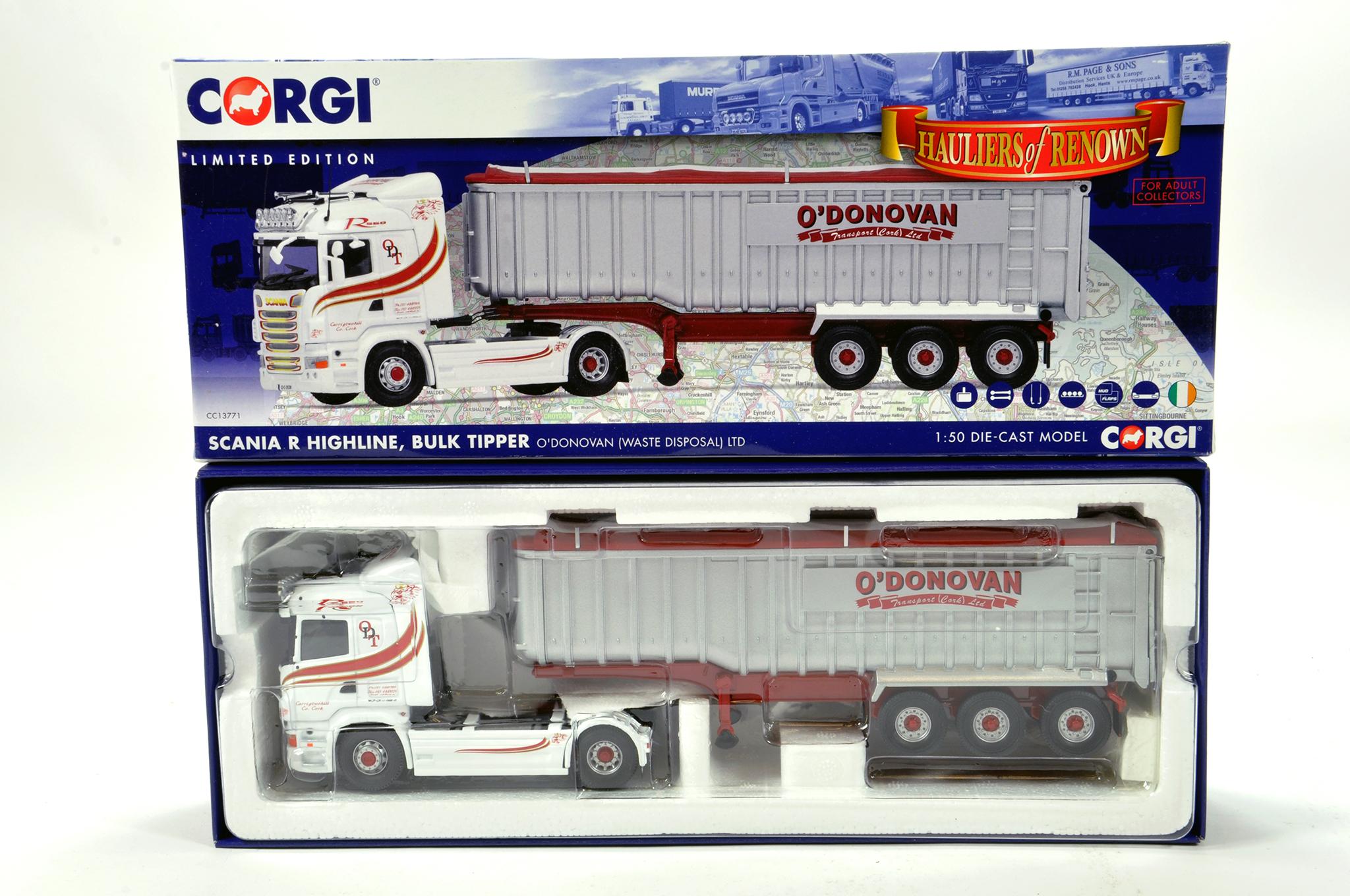 Lot 47 - Corgi 1/50 diecast truck issue comprising No. CC13771 Scania R Highline Bulk Tipper in livery of O'