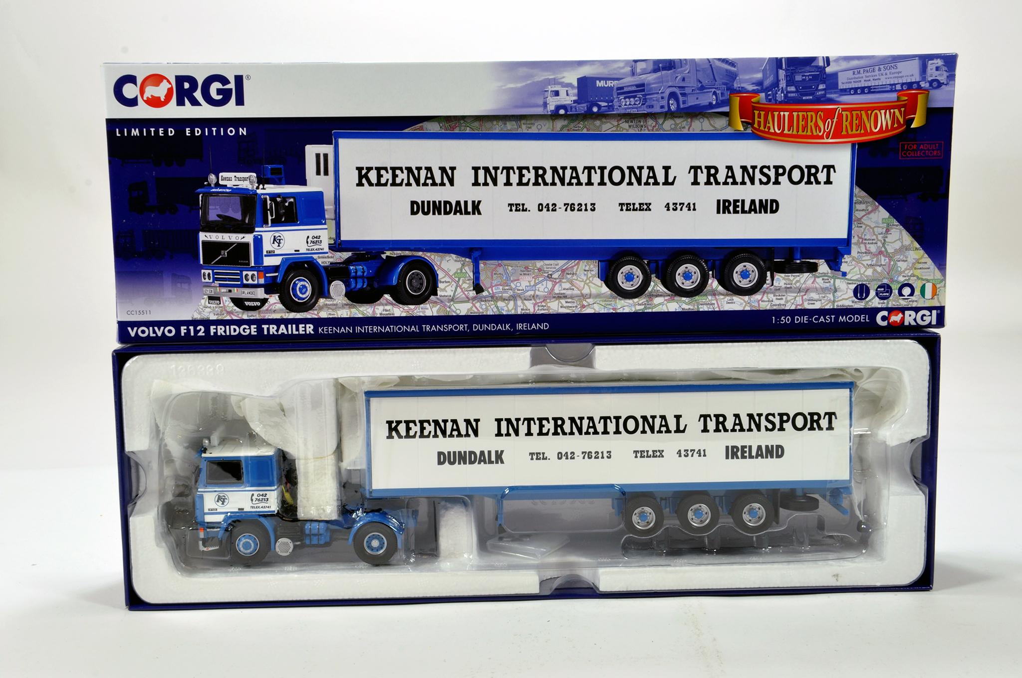 Lot 40 - Corgi 1/50 diecast truck issue comprising No. CC15511 Volvo F12 Fridge Trailer in livery of Keenan