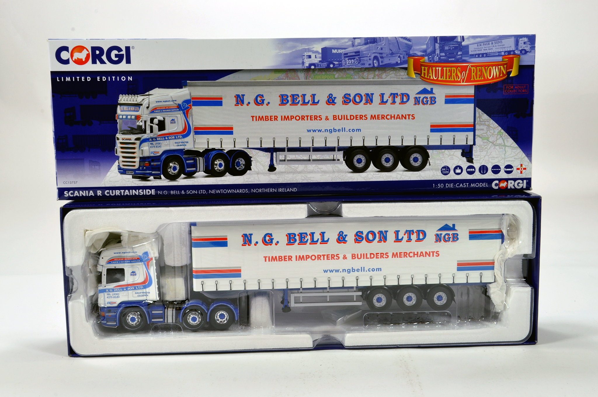 Lot 10 - Corgi 1/50 diecast truck issue comprising No. CC13757 Scania R Curtainside in livery of NG Bell &