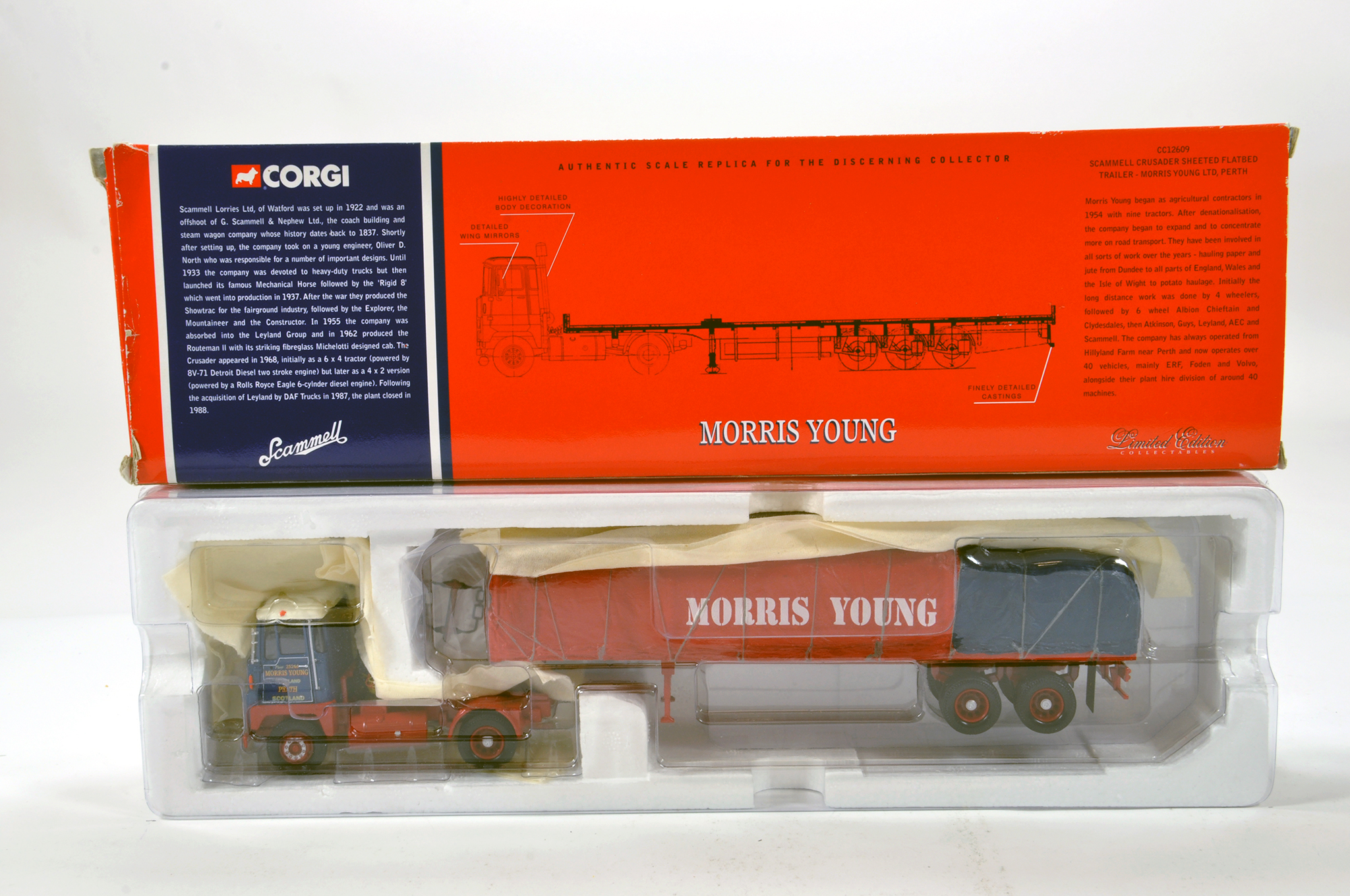 Lot 21 - Corgi 1/50 diecast truck issue comprising No. CC12609 Scammell Crusader Sheeted Trailer in livery of