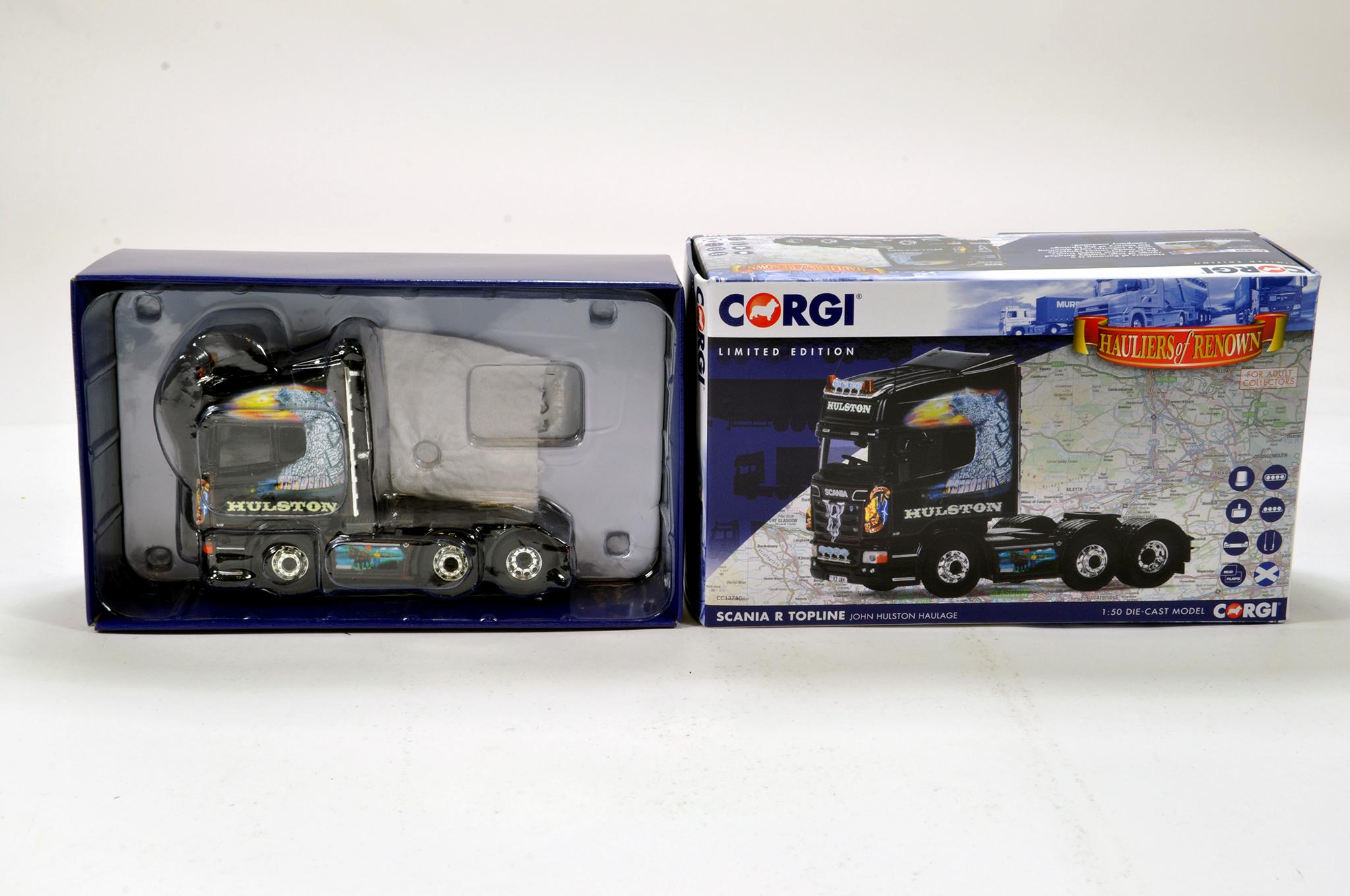 Lot 60 - Corgi 1/50 diecast truck issue comprising No. CC13780 Scania R Topline in livery of John Hulston.
