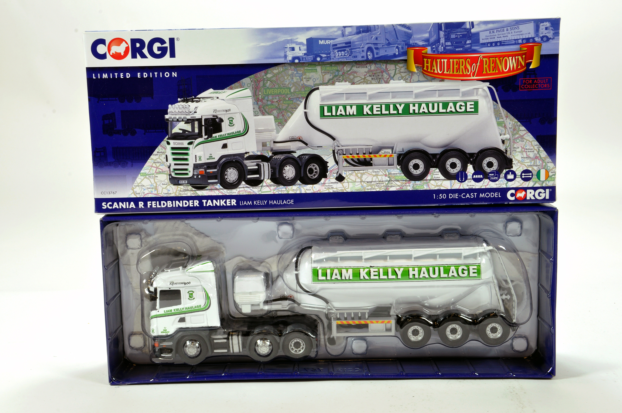 Lot 46 - Corgi 1/50 diecast truck issue comprising No. CC13767 Scania R Feldbinder Tanker in livery of Liam