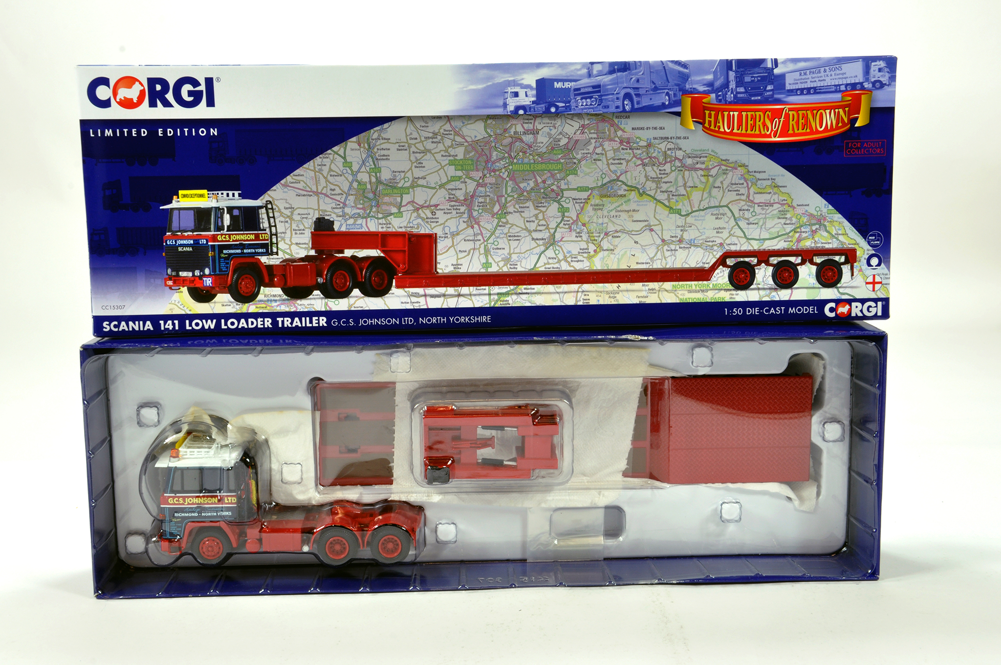 Lot 6 - Corgi 1/50 diecast truck issue comprising No. CC15307 Scania 141 Low Loader in livery of GCS
