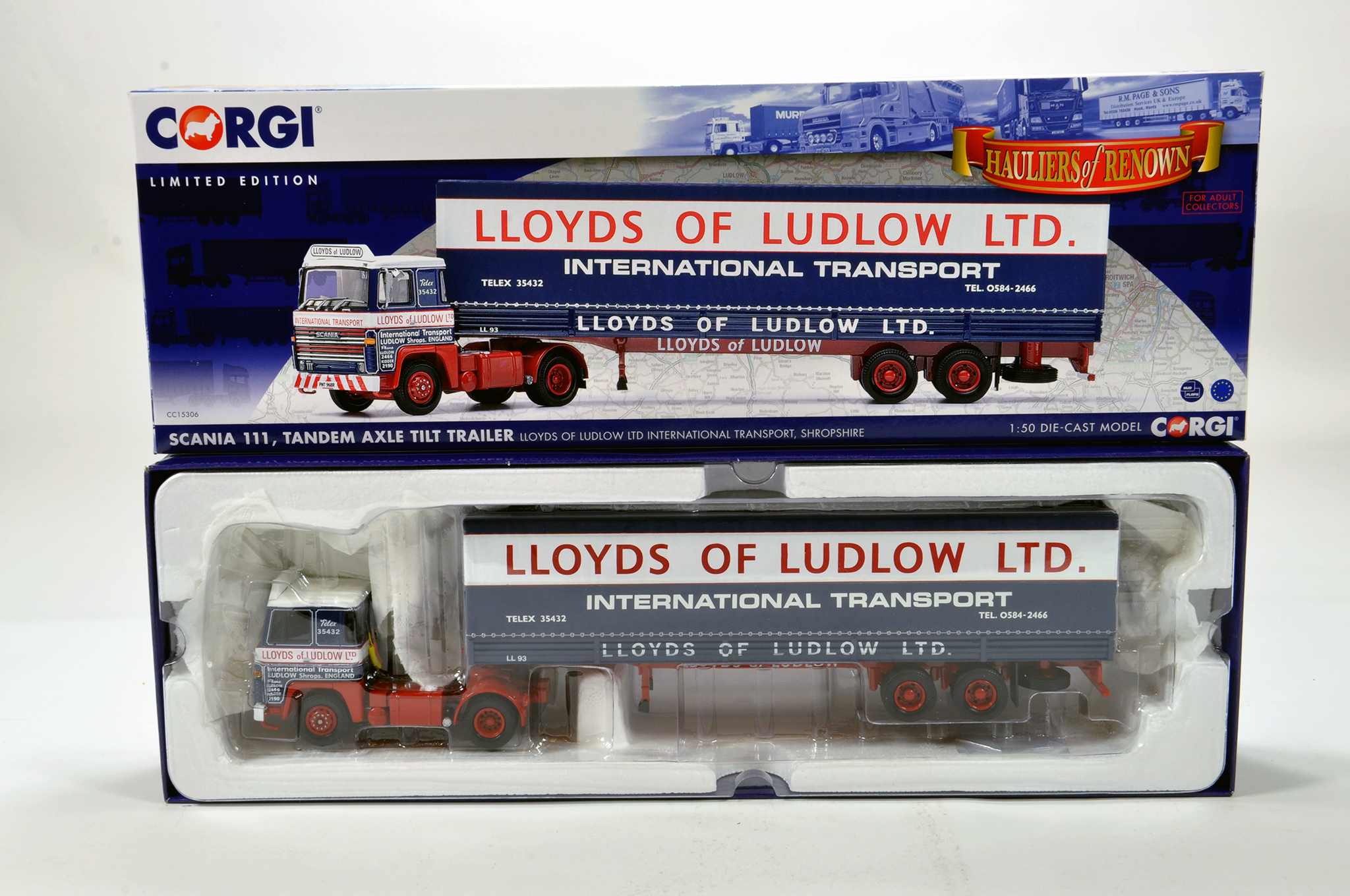 Lot 8 - Corgi 1/50 diecast truck issue comprising No. CC15306 Scania 111 Tilt Trailer in livery of Lloyds of