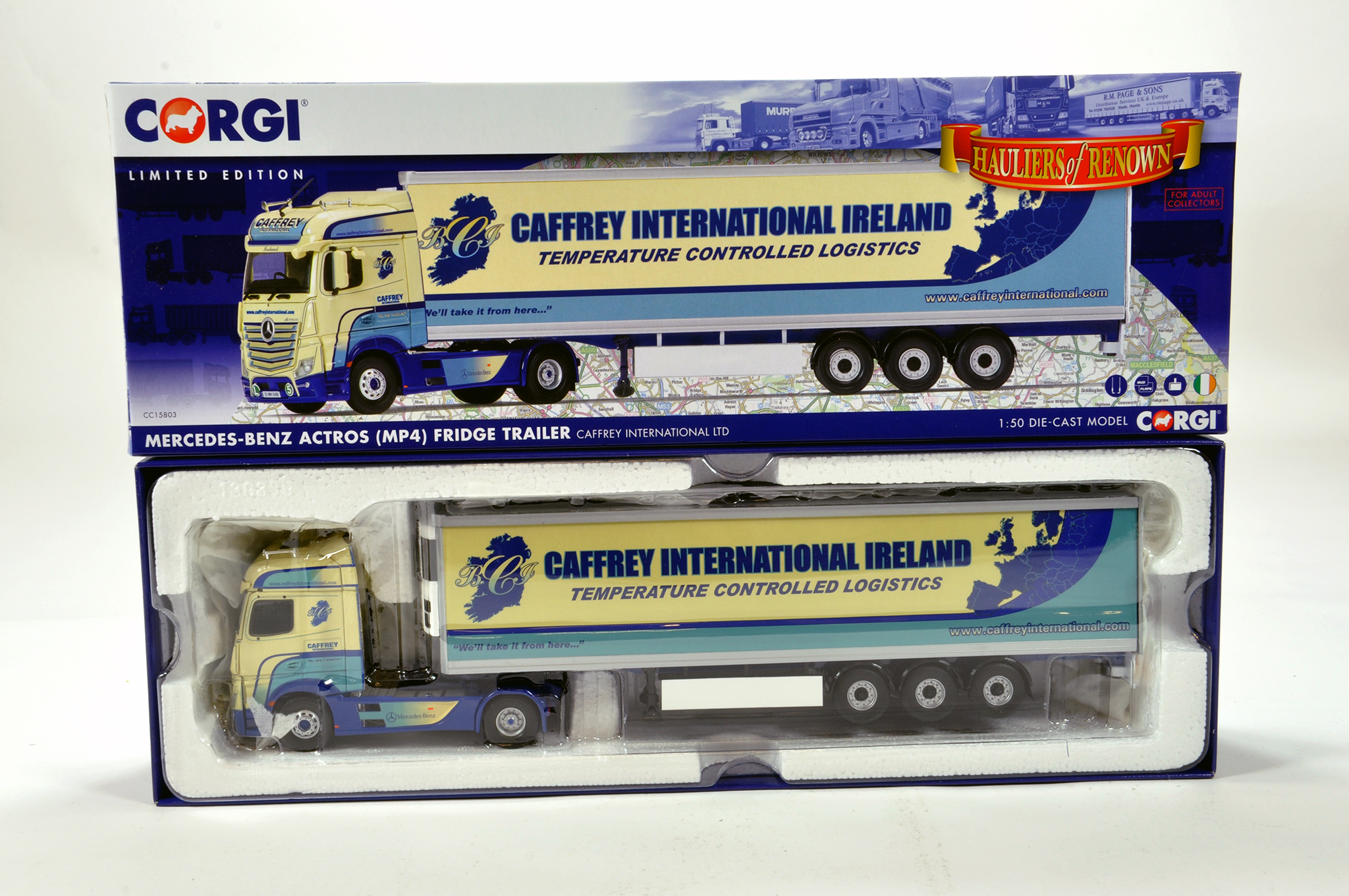 Lot 28 - Corgi 1/50 diecast truck issue comprising No. CC15803 Mercedes Benz Actros Fridge Trailer in
