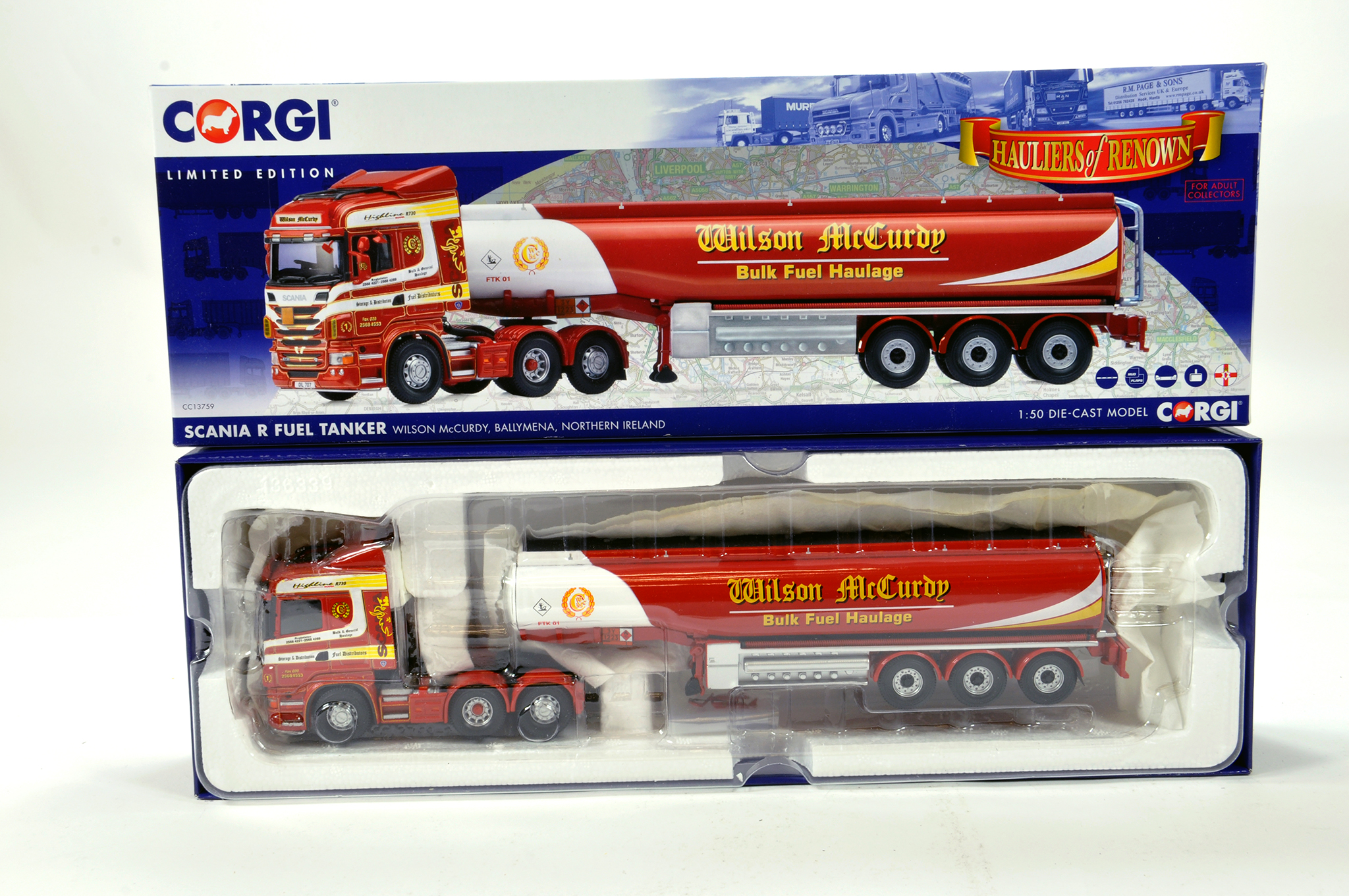 Lot 38 - Corgi 1/50 diecast truck issue comprising No. CC13759 Scania R Fuel Tanker in livery of Wilson