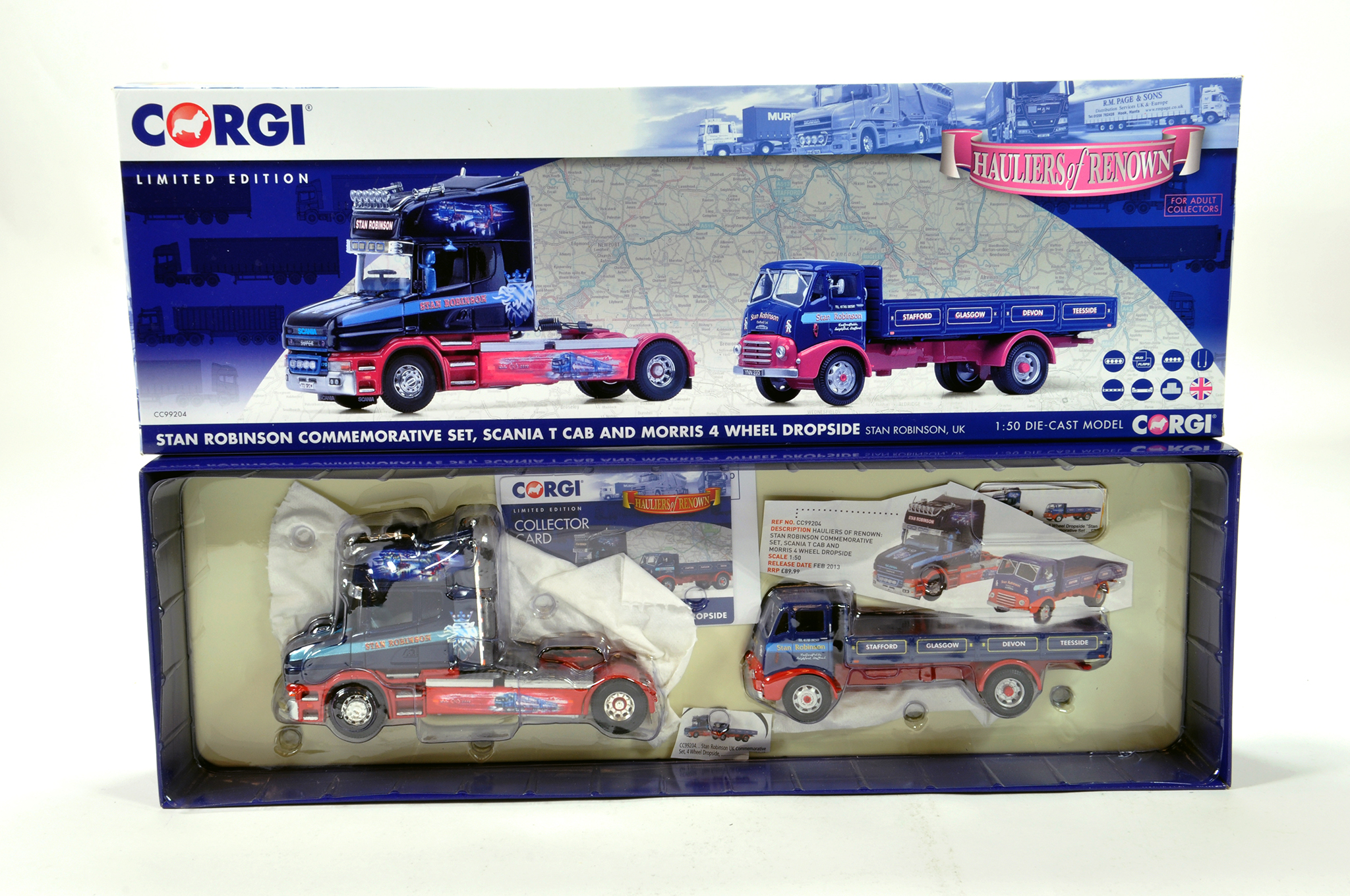Lot 13 - Corgi 1/50 diecast truck issue comprising No. CC99204 Scania T Cab and Morris Dropside in livery