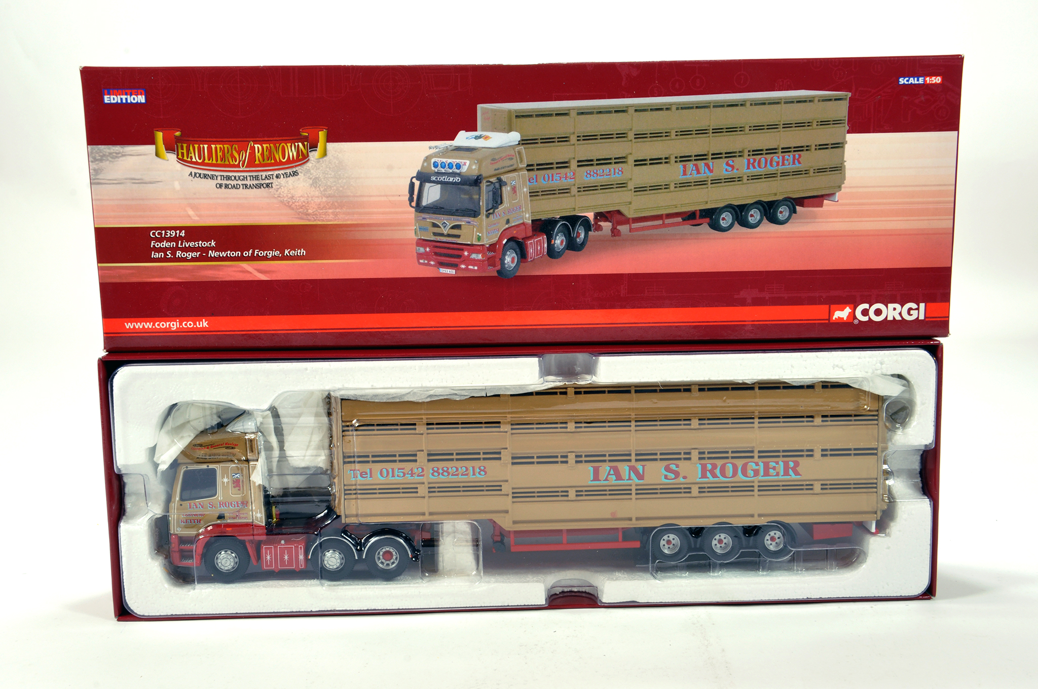 Lot 27 - Corgi 1/50 diecast truck issue comprising No. CC13914 Foden Livestock Transporter in livery of Ian S