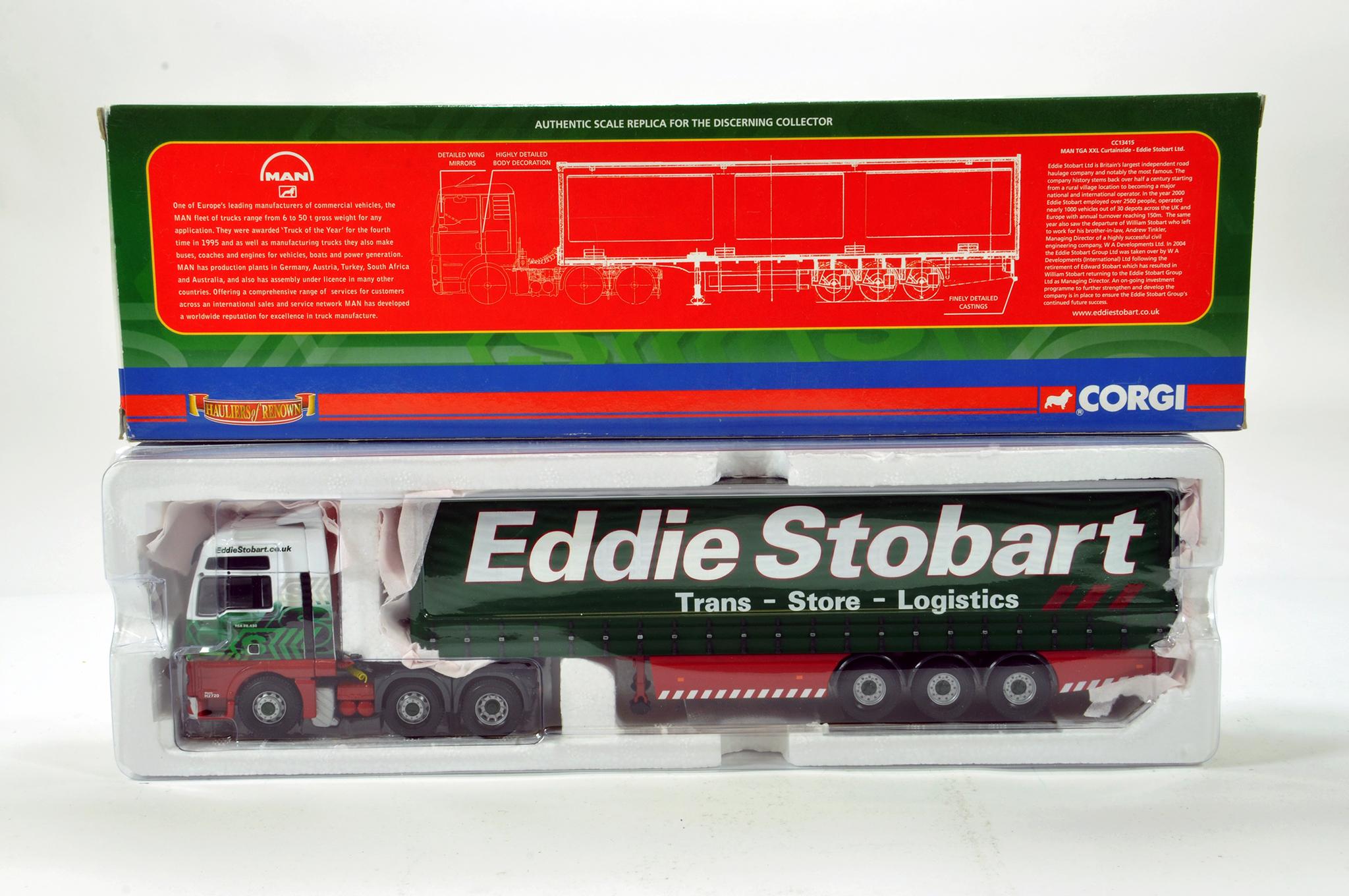 Lot 53 - Corgi 1/50 diecast truck issue comprising No. CC13415 MAN TGA XXL Curtainside in livery of Eddie