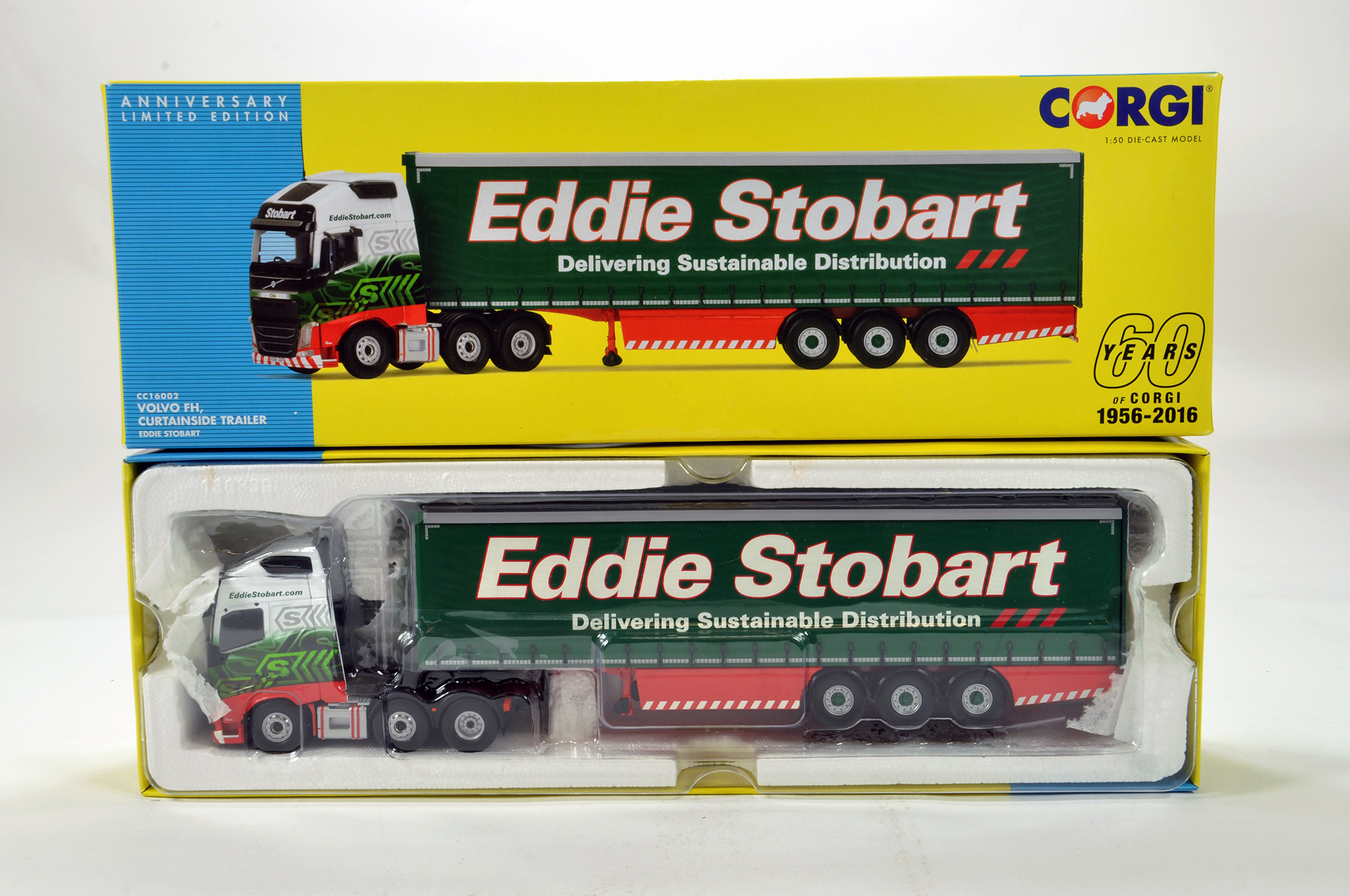 Lot 3 - Corgi 1/50 diecast truck issue comprising No. CC16002 Vovlo FH Curtainside Trailer in livery of