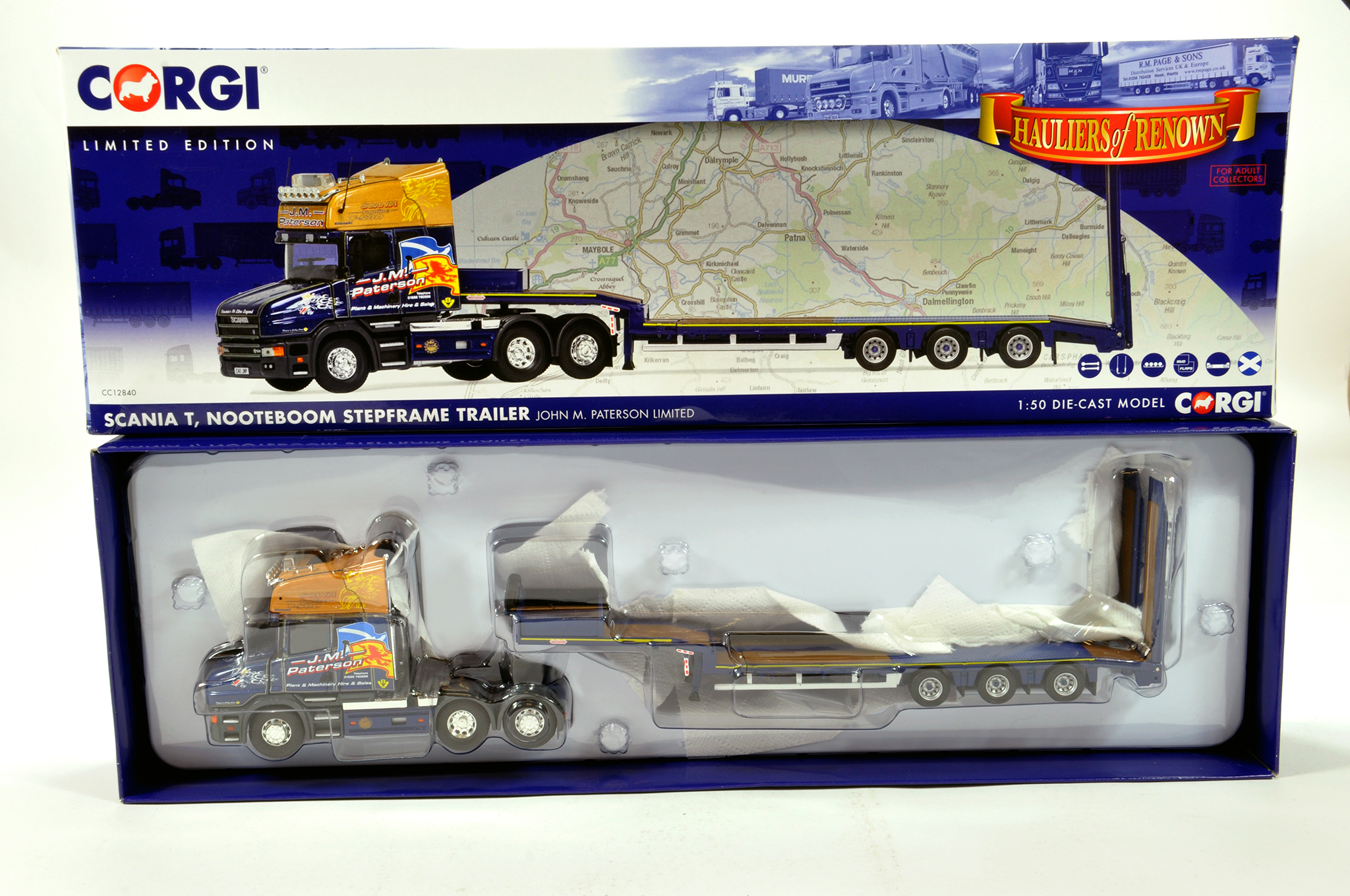 Lot 14 - Corgi 1/50 diecast truck issue comprising No. CC12840 Scania T Low Loader in livery of John