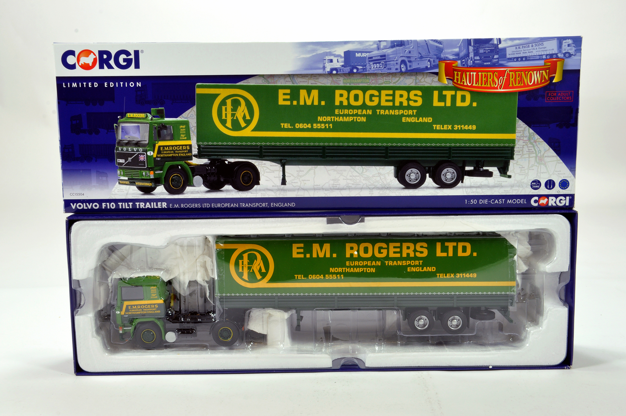 Lot 12 - Corgi 1/50 diecast truck issue comprising No. CC15504 Volvo F10 Tilt Trailer in livery of EM Rogers.