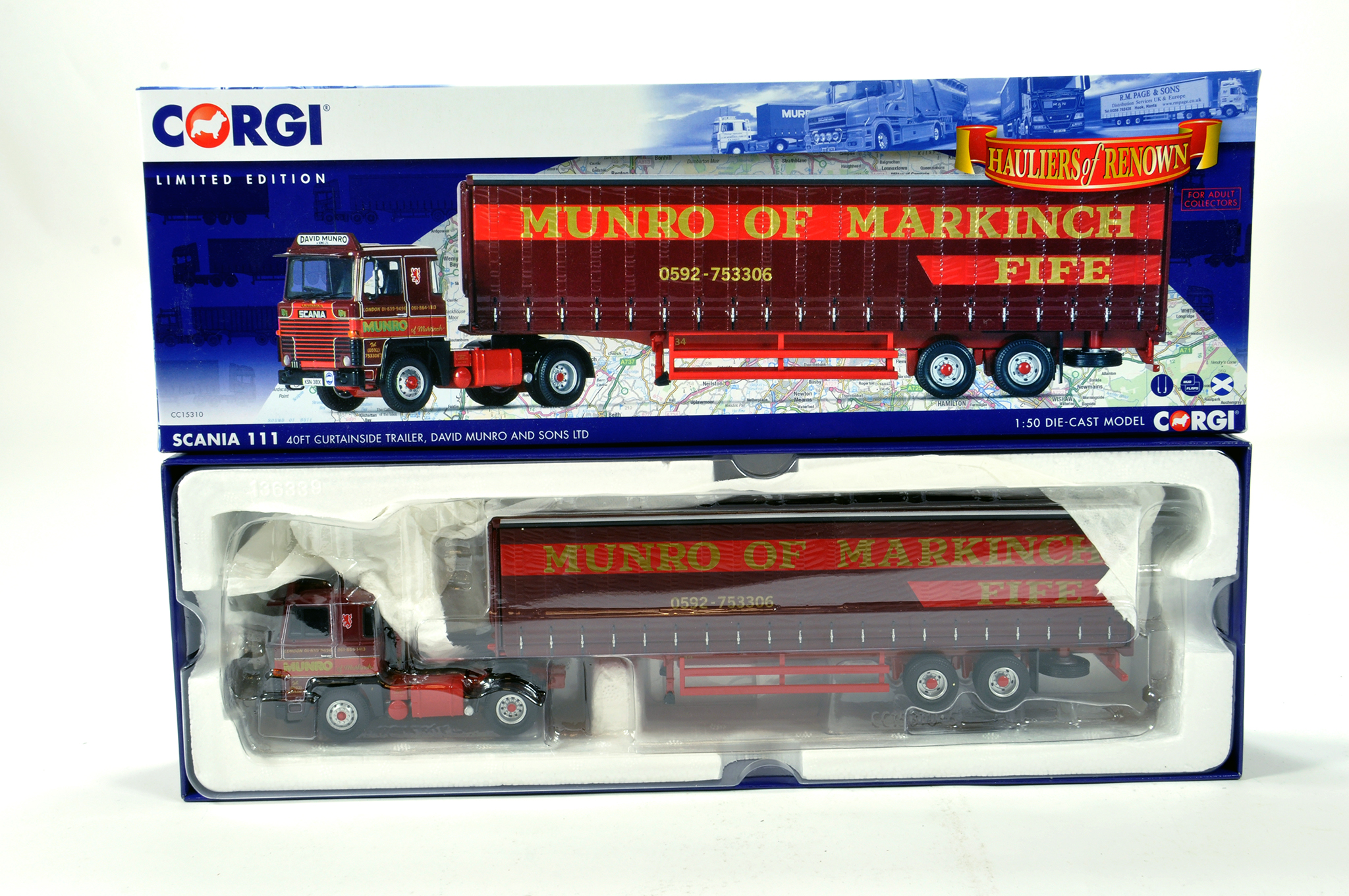 Lot 36 - Corgi 1/50 diecast truck issue comprising No. CC15310 Scania 111 Curtainside Trailer in livery of