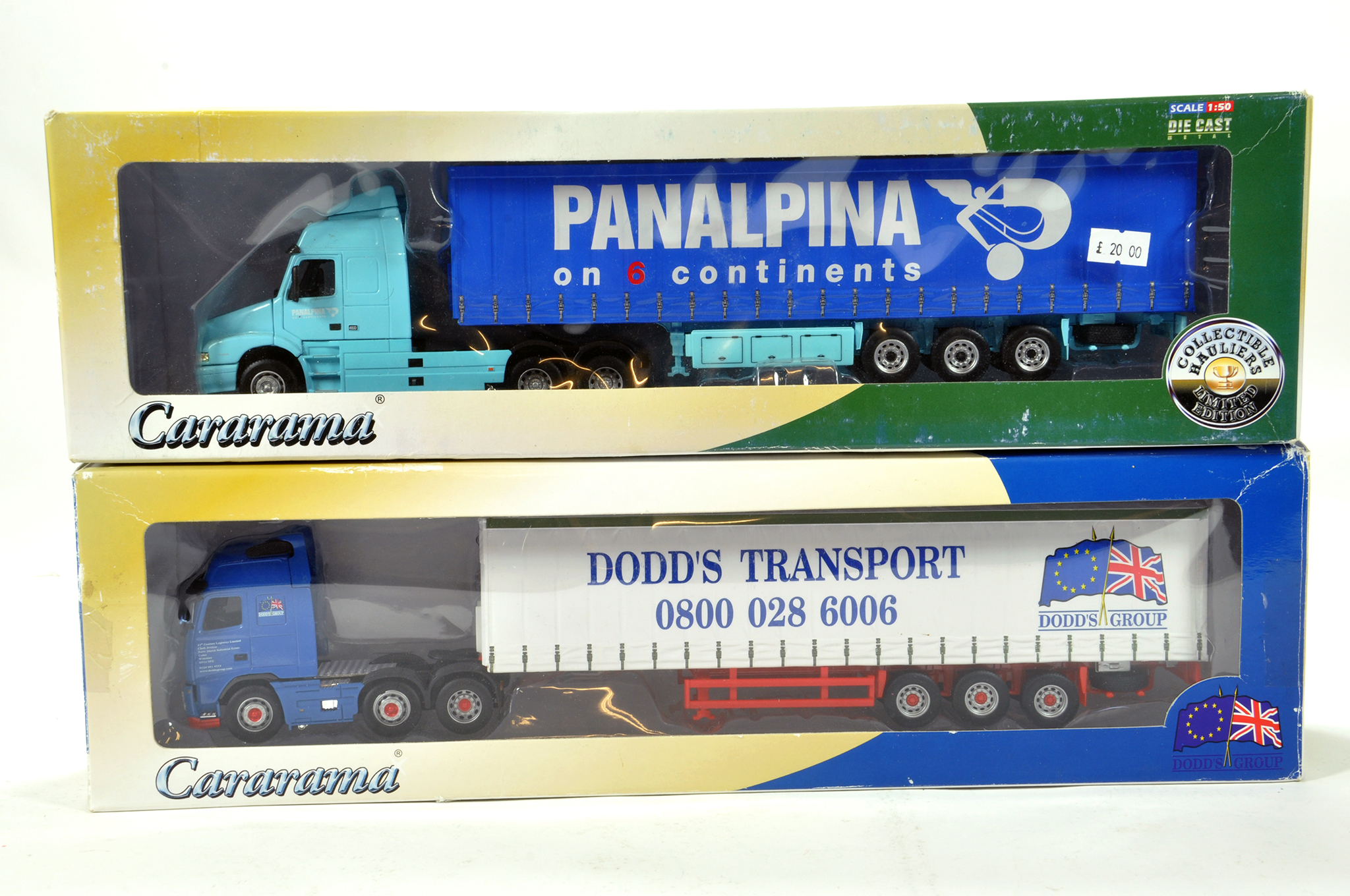 Lot 436 - Duo of Cararama diecast truck issues in liveries of Panalpina and Dodds. VG to E.