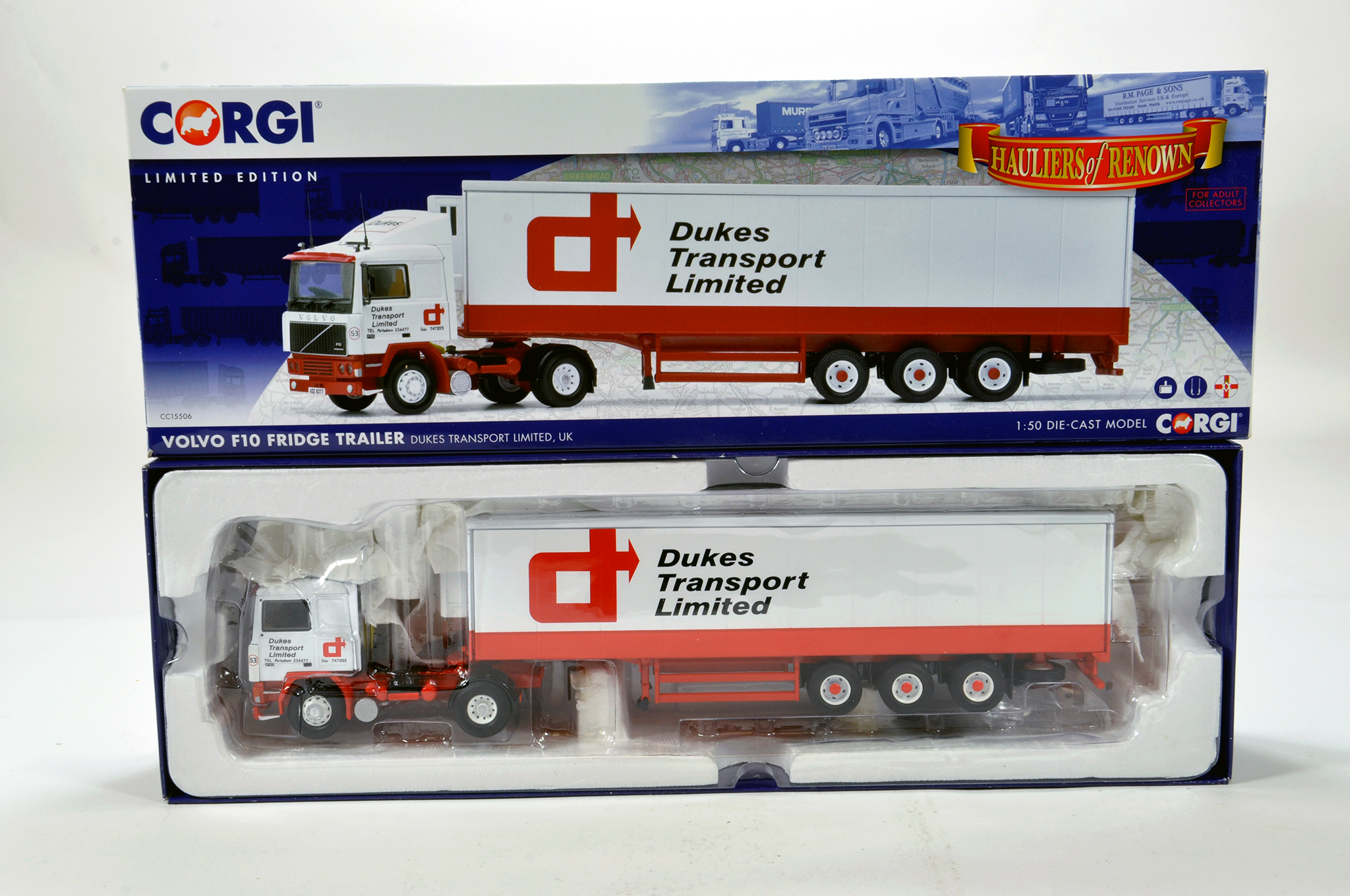 Lot 44 - Corgi 1/50 diecast truck issue comprising No. CC15506 Volvo F10 Fridge Trailer in livery of Dukes