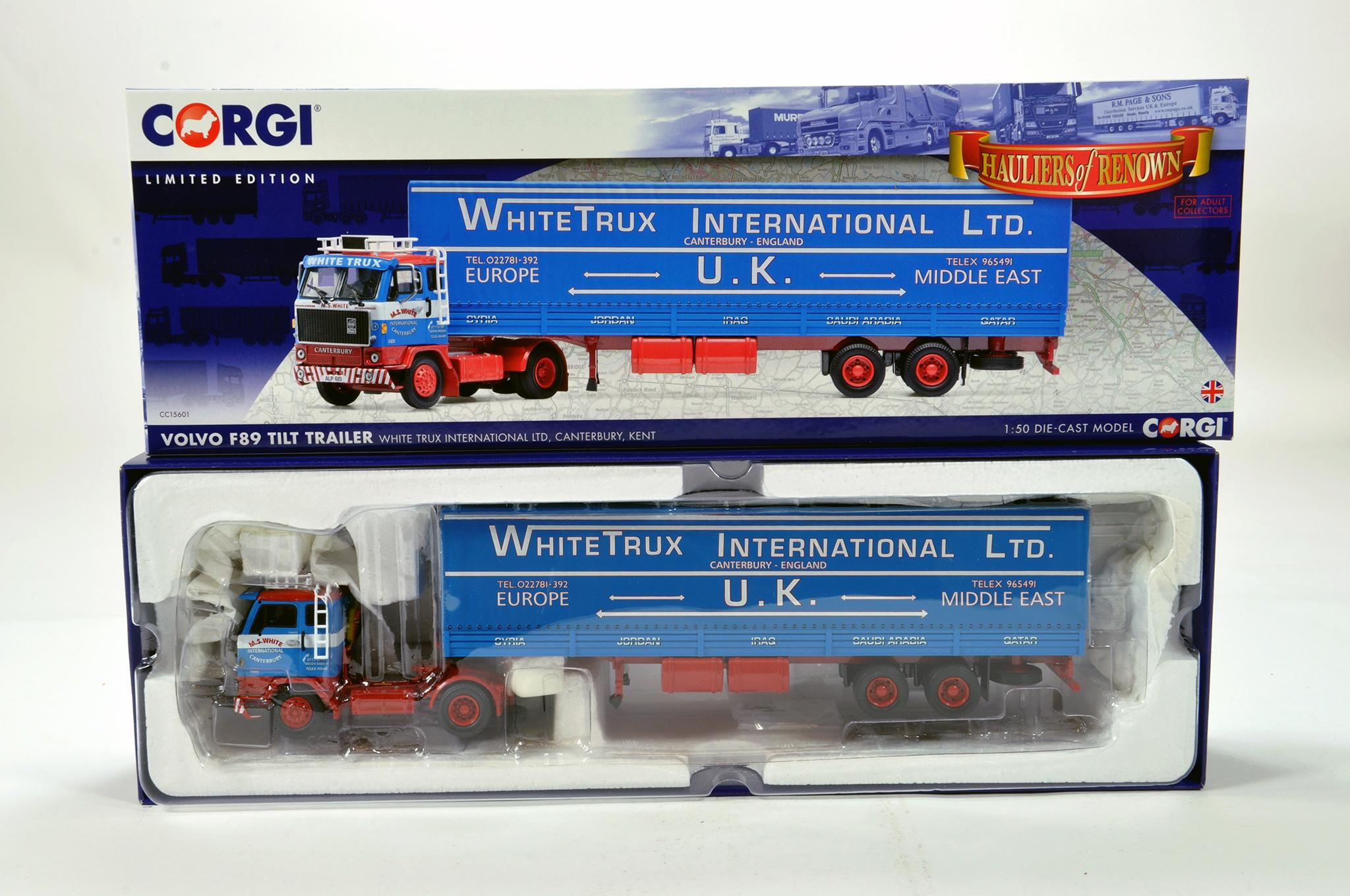 Lot 5 - Corgi 1/50 diecast truck issue comprising No. CC15601 Volvo F89 Tilt Trailer in livery of White Trux