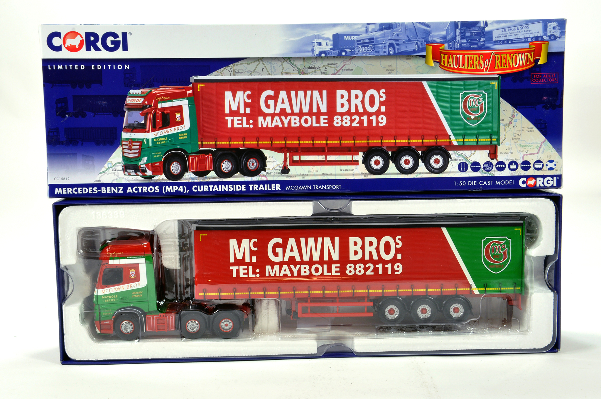 Lot 48 - Corgi 1/50 diecast truck issue comprising No. CC15812 Mercedes Benz Actros Curtainside in livery