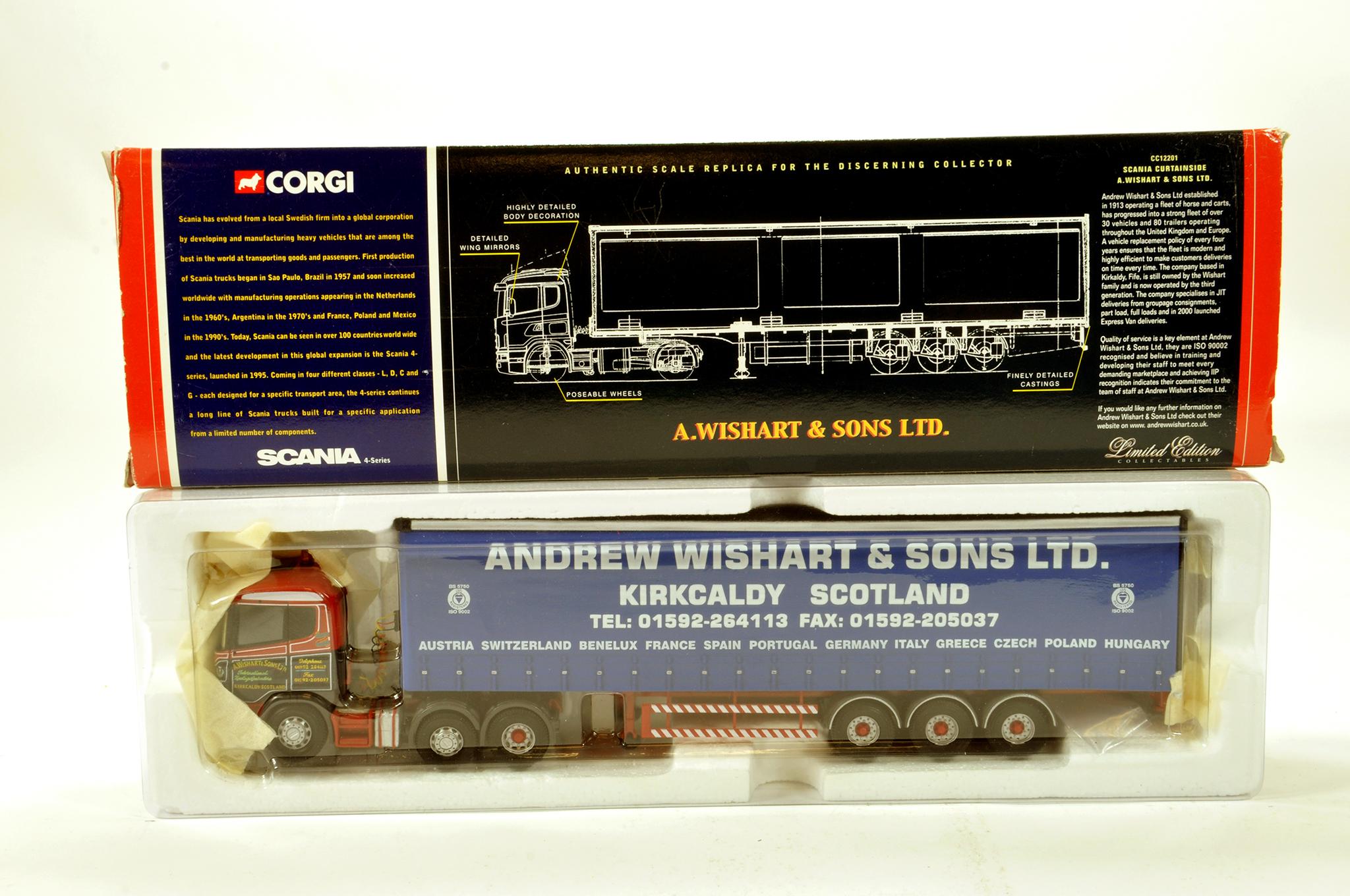 Lot 22 - Corgi 1/50 diecast truck issue comprising No. CC12201 Scania Curtainside in livery of A Wishart. E