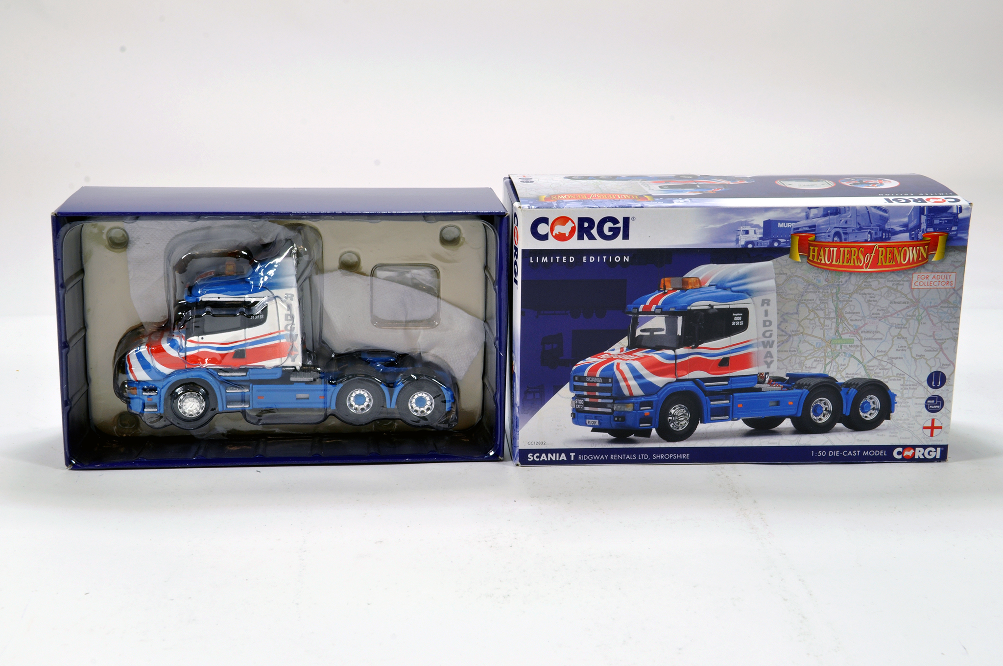 Lot 59 - Corgi 1/50 diecast truck issue comprising No. CC12832 Scania T in livery of Ridgway Rentals. E to NM