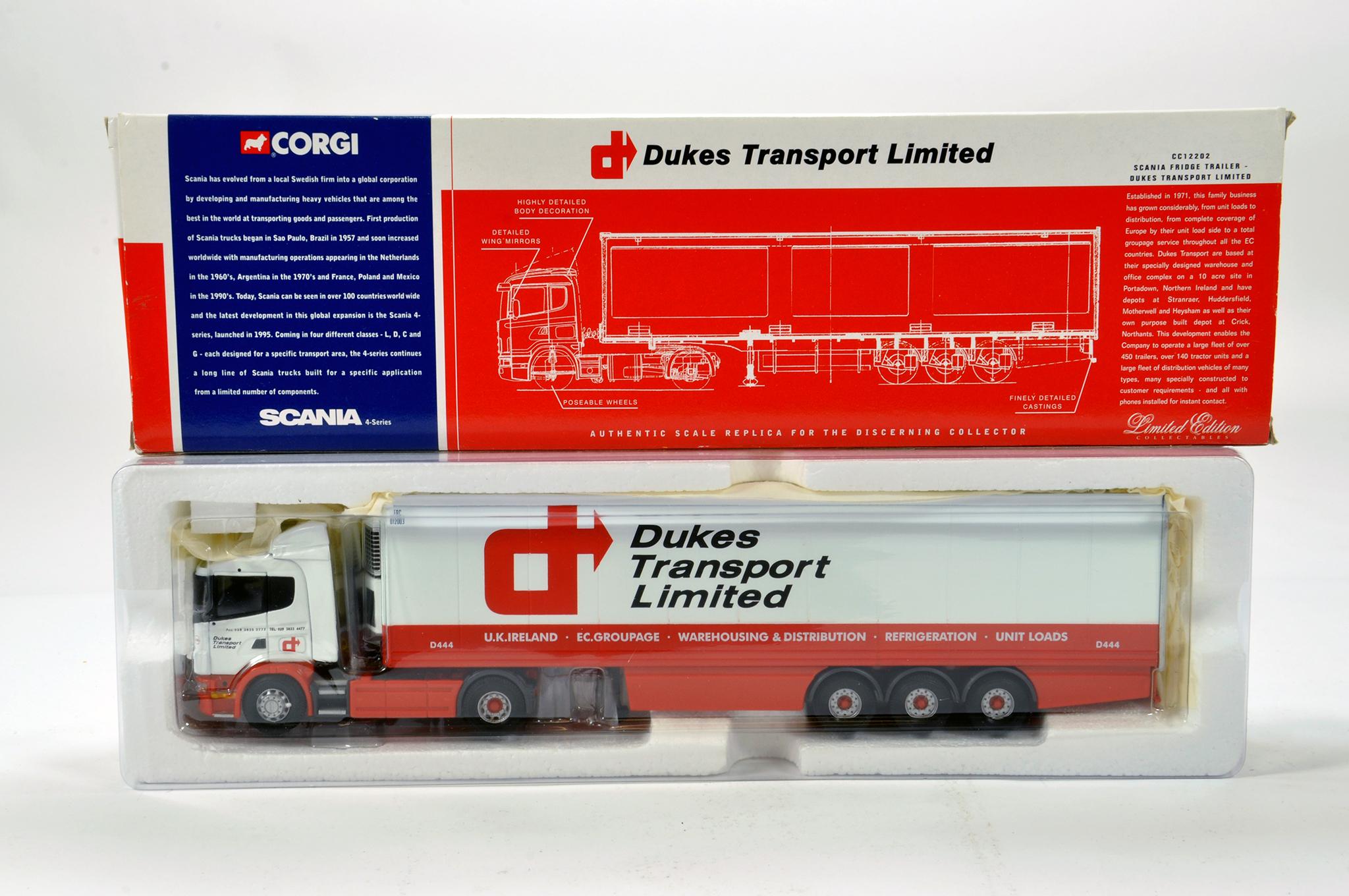 Lot 52 - Corgi 1/50 diecast truck issue comprising No. CC12202 Scania Fridge Trailer in livery of Dukes