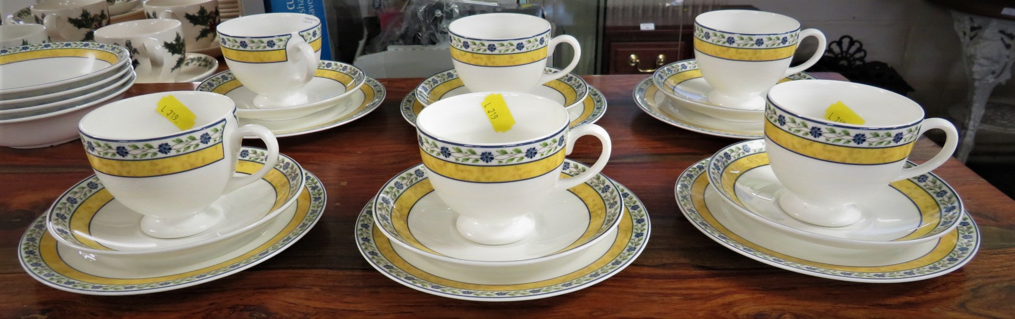 Lot 63 - WEDGWOOD MISTRAL TEA SET - SIX CUPS AND SAUCERS, SIX PLATES, FOUR BOWLS AND A MILK JUG
