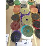 """LOT OF (105) ASSORTED 4"""" GRINDING/POLISHING PADS *SEE PICTURES FOR COMPLETE QUANTITY PER GRIT*"""