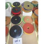 """LOT OF (75) ASSORTED 5"""" GRINDING/POLISHING PADS *SEE PICTURES FOR COMPLETE QUANTITY PER GRIT*"""