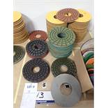 """LOT OF (68) ASSORTED 8"""" GRINDING/POLISHING PADS *SEE PICTURES FOR COMPLETE QUANTITY PER GRIT*"""