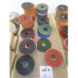 """LOT OF (70) ASSORTED 5"""" GRINDING/POLISHING PADS *SEE PICTURES FOR COMPLETE QUANTITY PER GRIT*"""